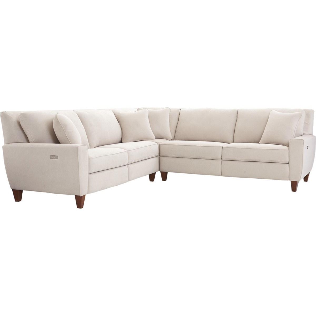La z boy edie three piece power reclining sectional sofa for 3 pc sectional sofa with recliners