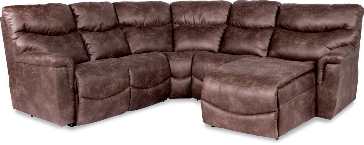 La z boy james four piece reclining sectional sofa with for 4 piece recliner sectional sofa