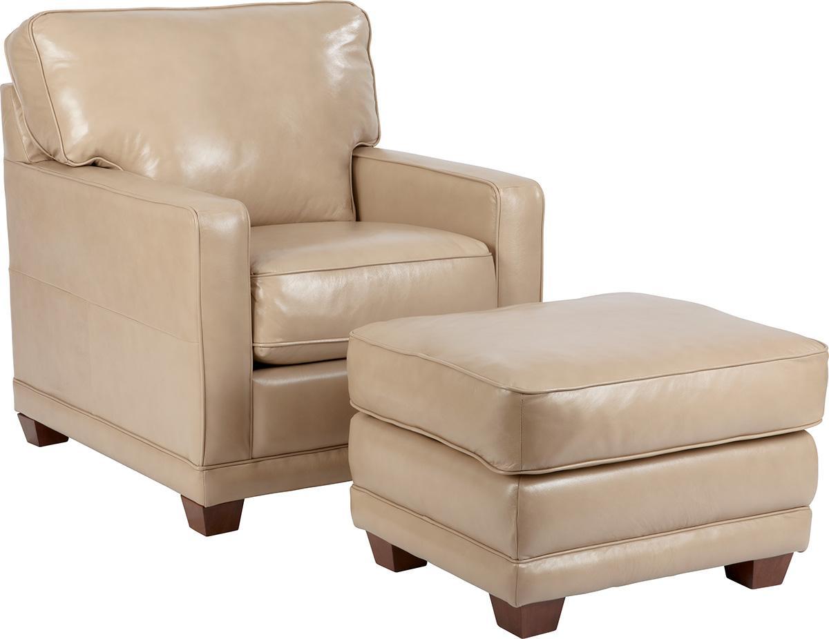 La-Z-Boy Kennedy Transitional Ottoman With Wood Block Legs   Zaku0026#39;s Fine Furniture   Ottomans