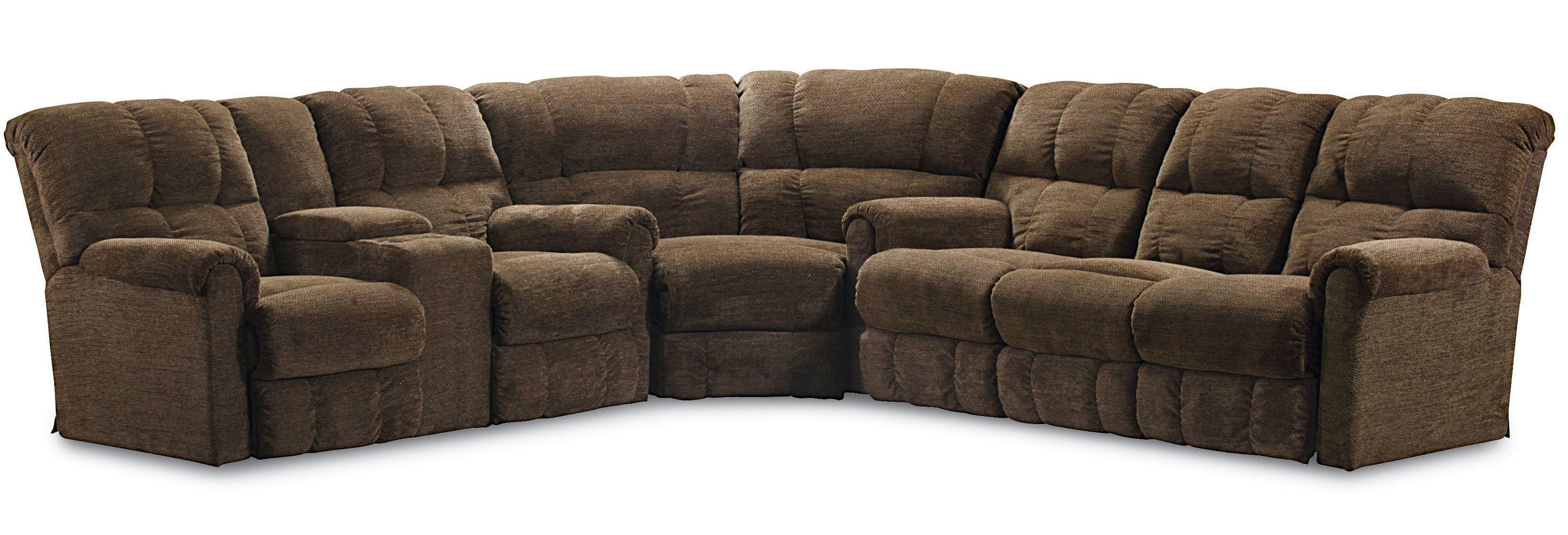 Lane griffin casual three piece reclining sectional sofa for Sectional sofa with 4 recliners