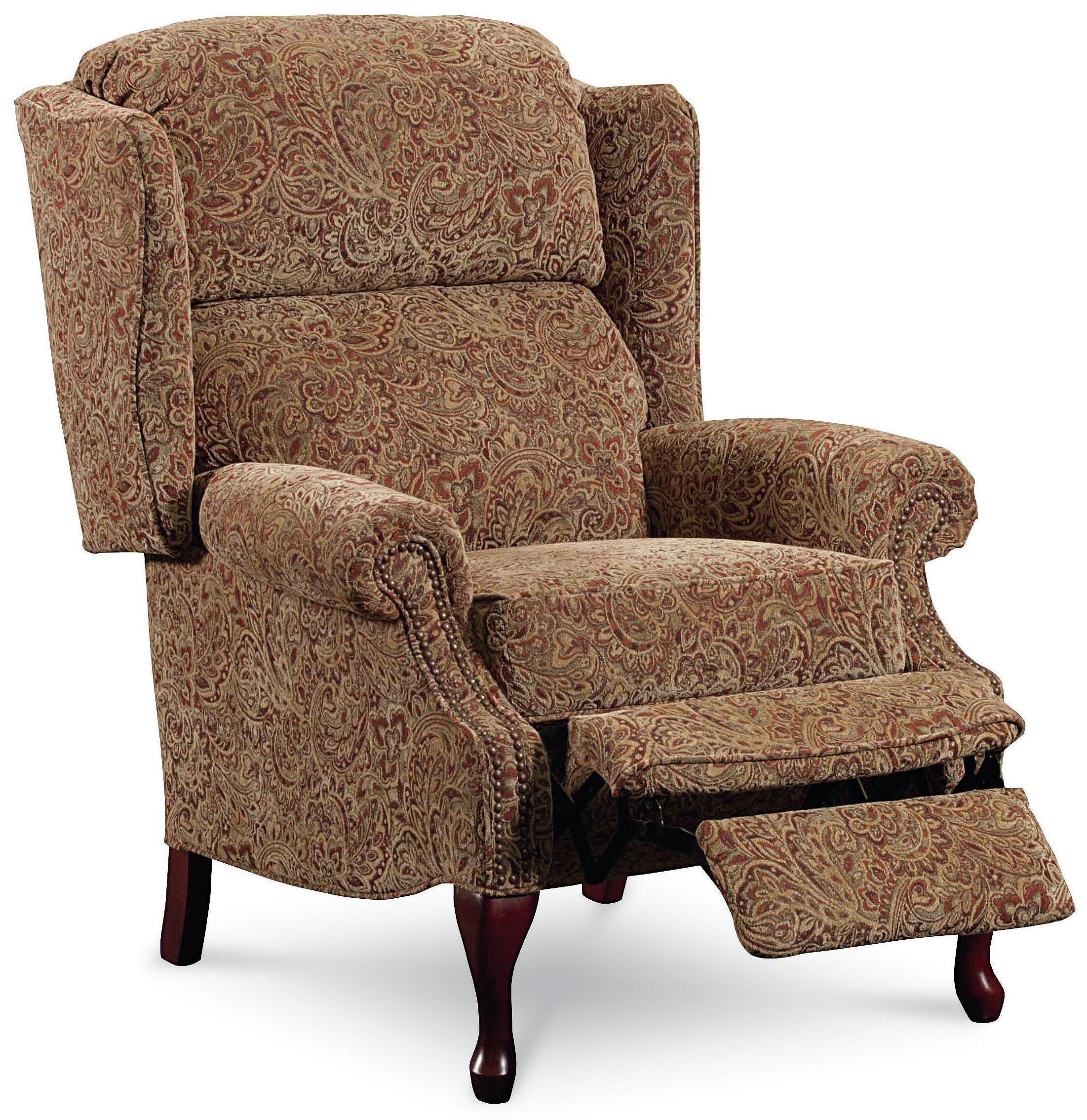 Lane hi leg recliners 2530 savannah high leg wing back for Wing back recliner chair