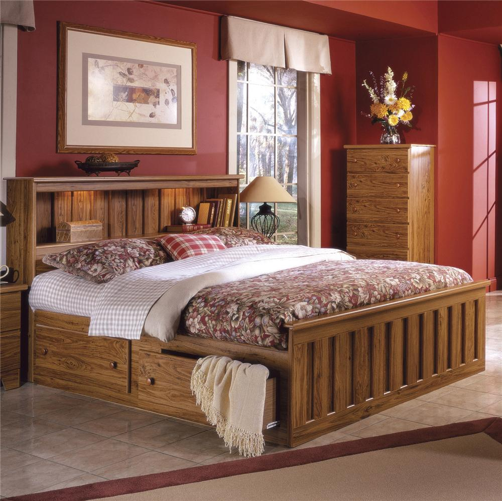 Lang shaker queen bookcase bed with under bed drawer storage and interior lighting colder 39 s for London bedroom set with lighted headboard