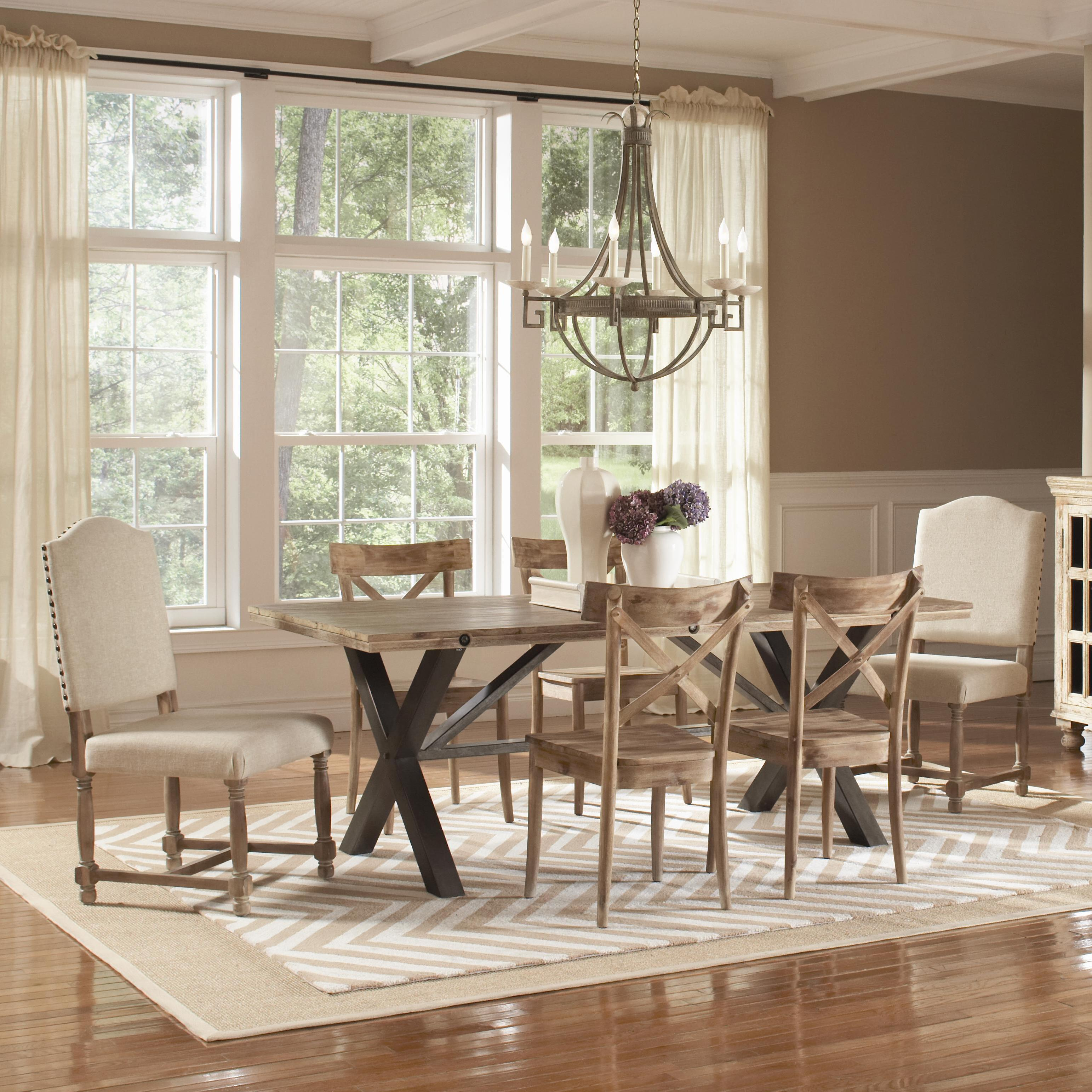 Largo callista rustic casual 7 piece rectangular table set for Dining room tables jacksonville nc