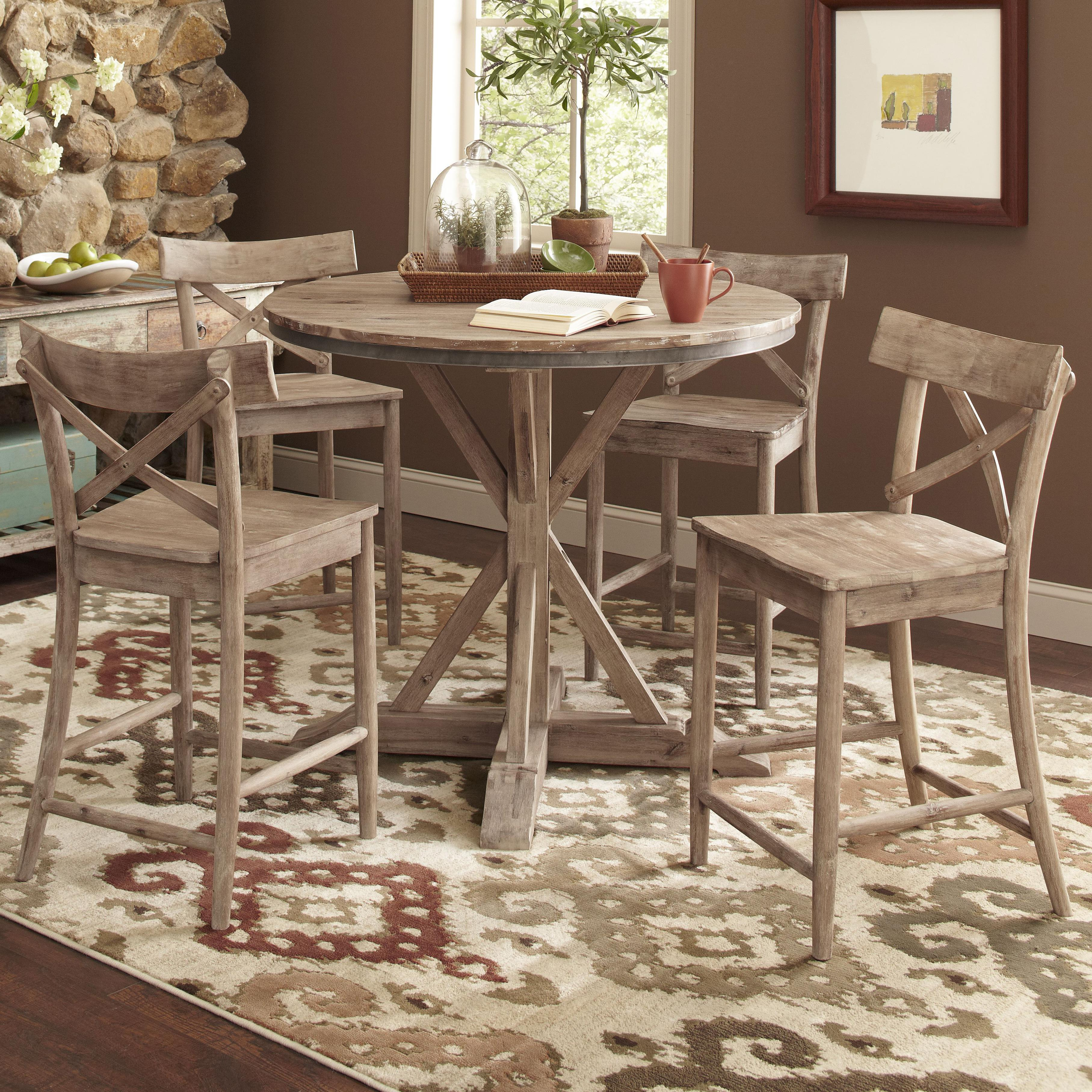 Largo callista rustic casual counter height dining table for Counter height dining table set