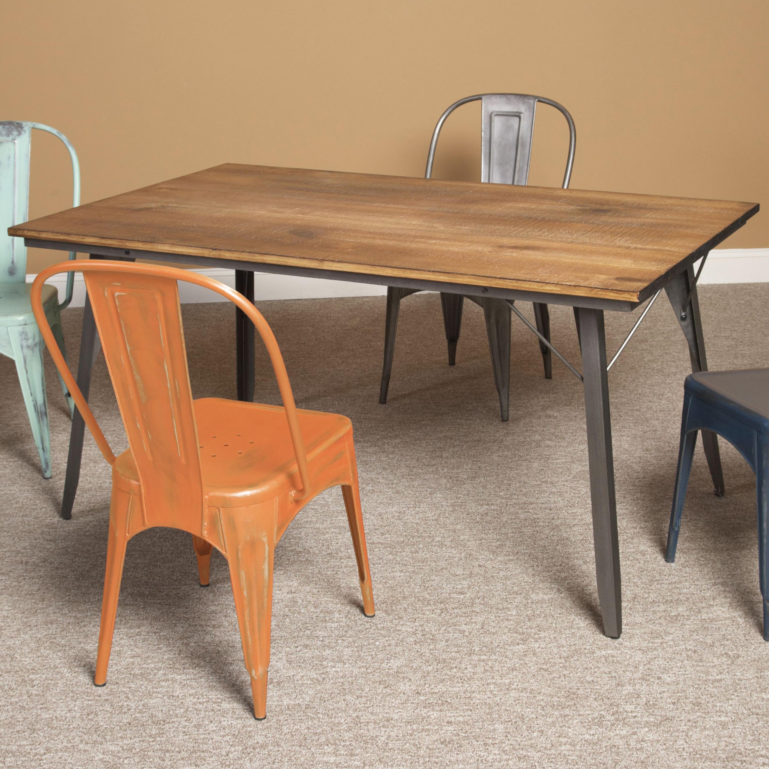 largo timbuktu wood metal rectangular dining table olinde 39 s furniture kitchen table. Black Bedroom Furniture Sets. Home Design Ideas