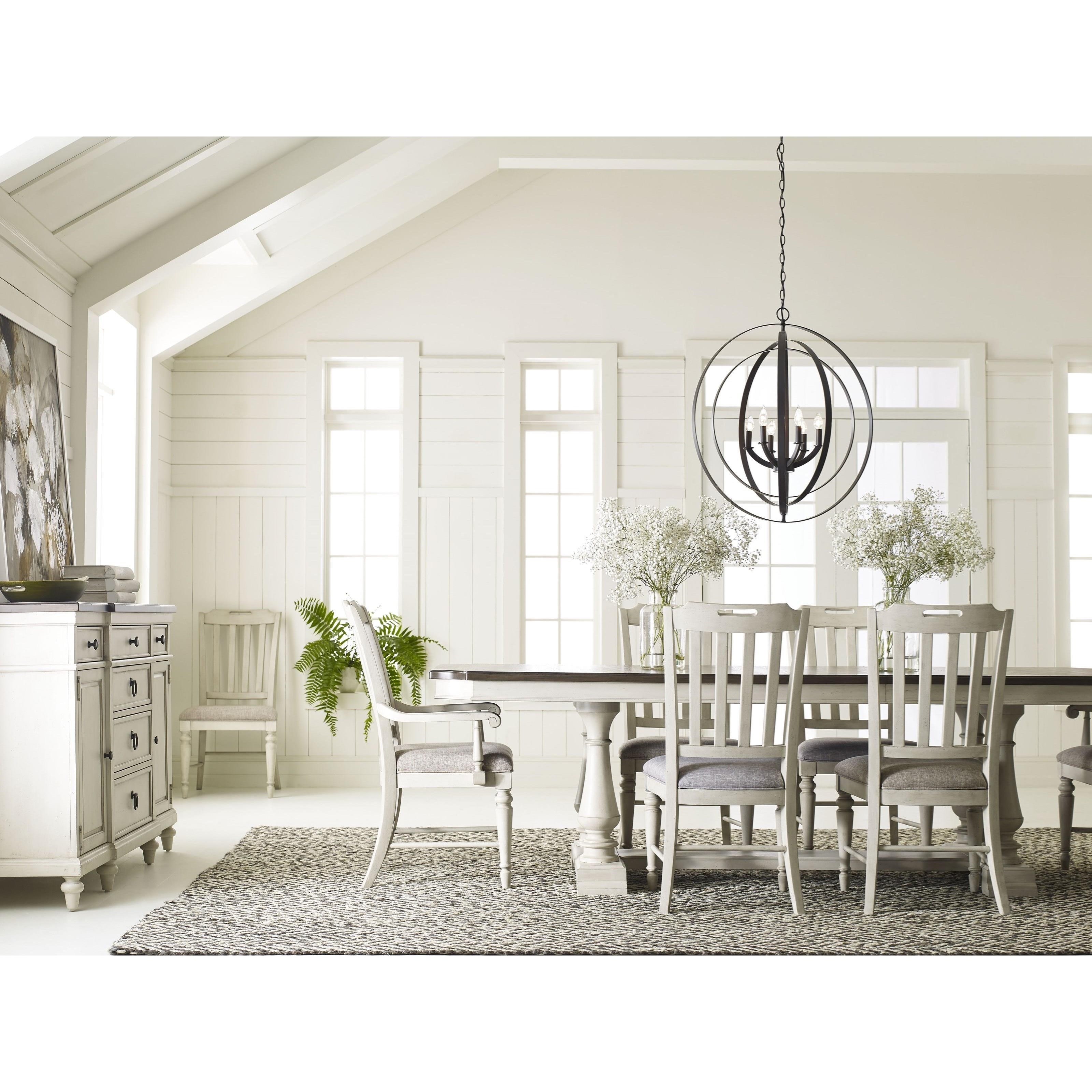Legacy classic brookhaven 6400 622k trestle table with 2 for Legacy classic dining room furniture