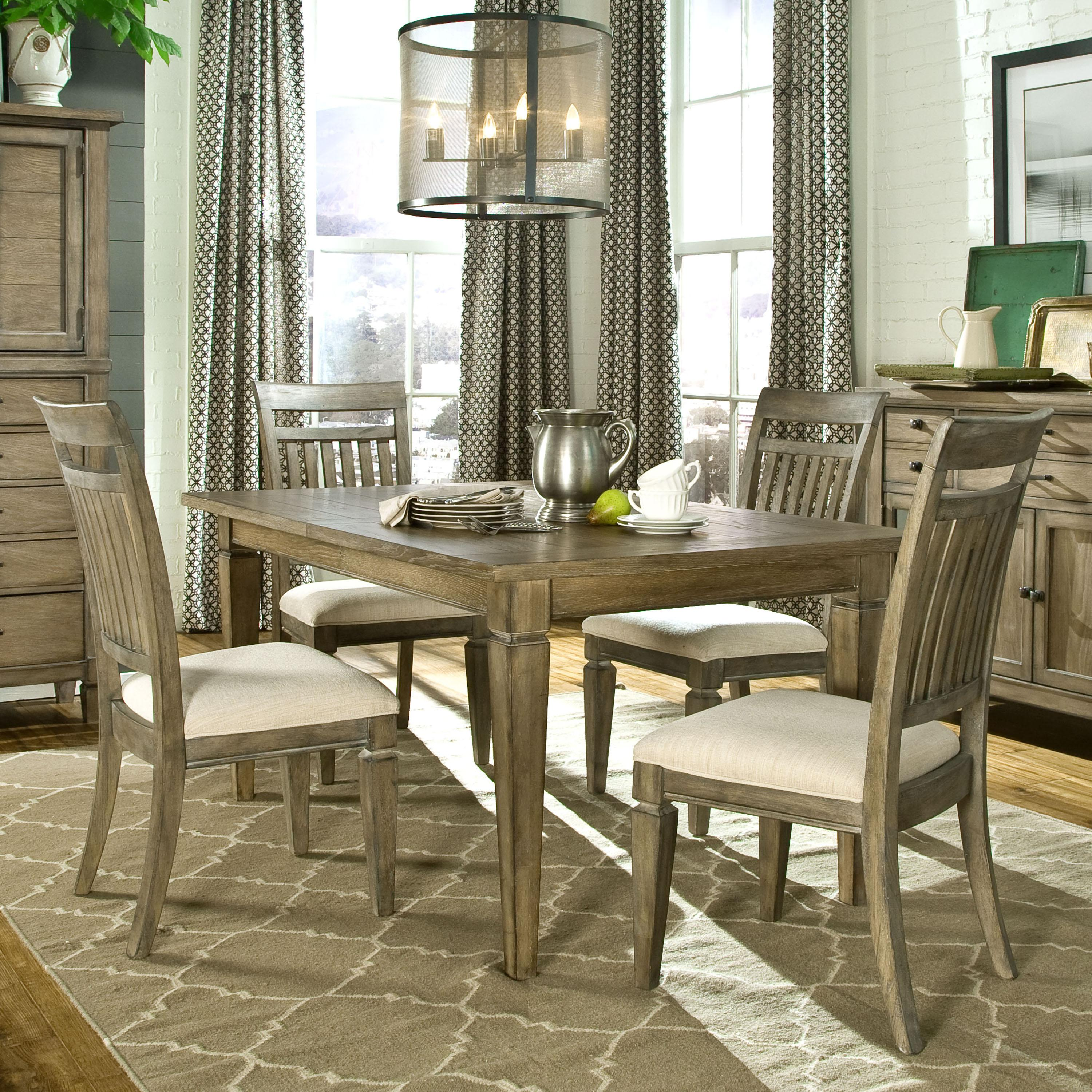 village 5 piece dining set with leg table and slat back side chairs