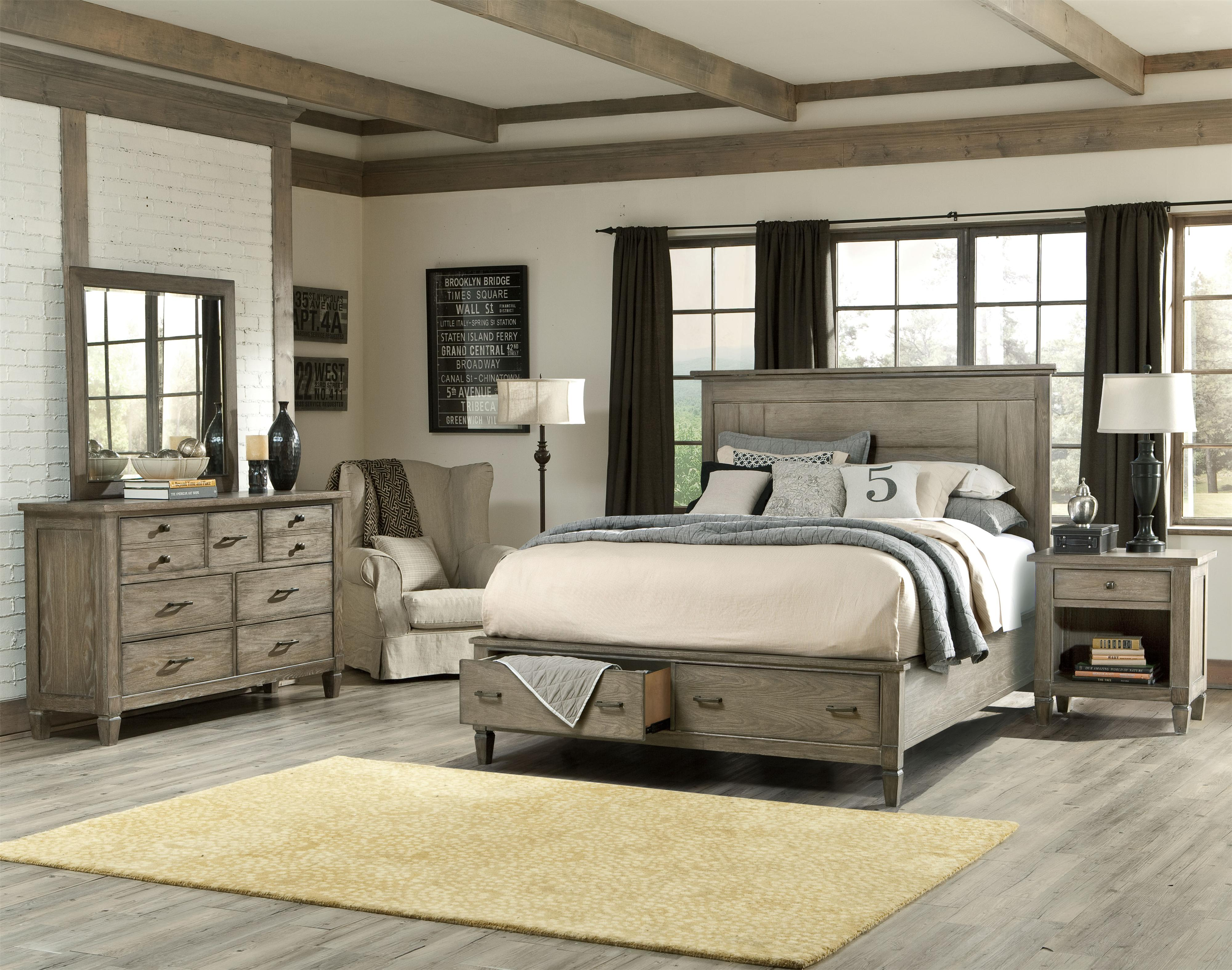 Brownstone Village California King Size Panel Bed With Storage Footboard By L