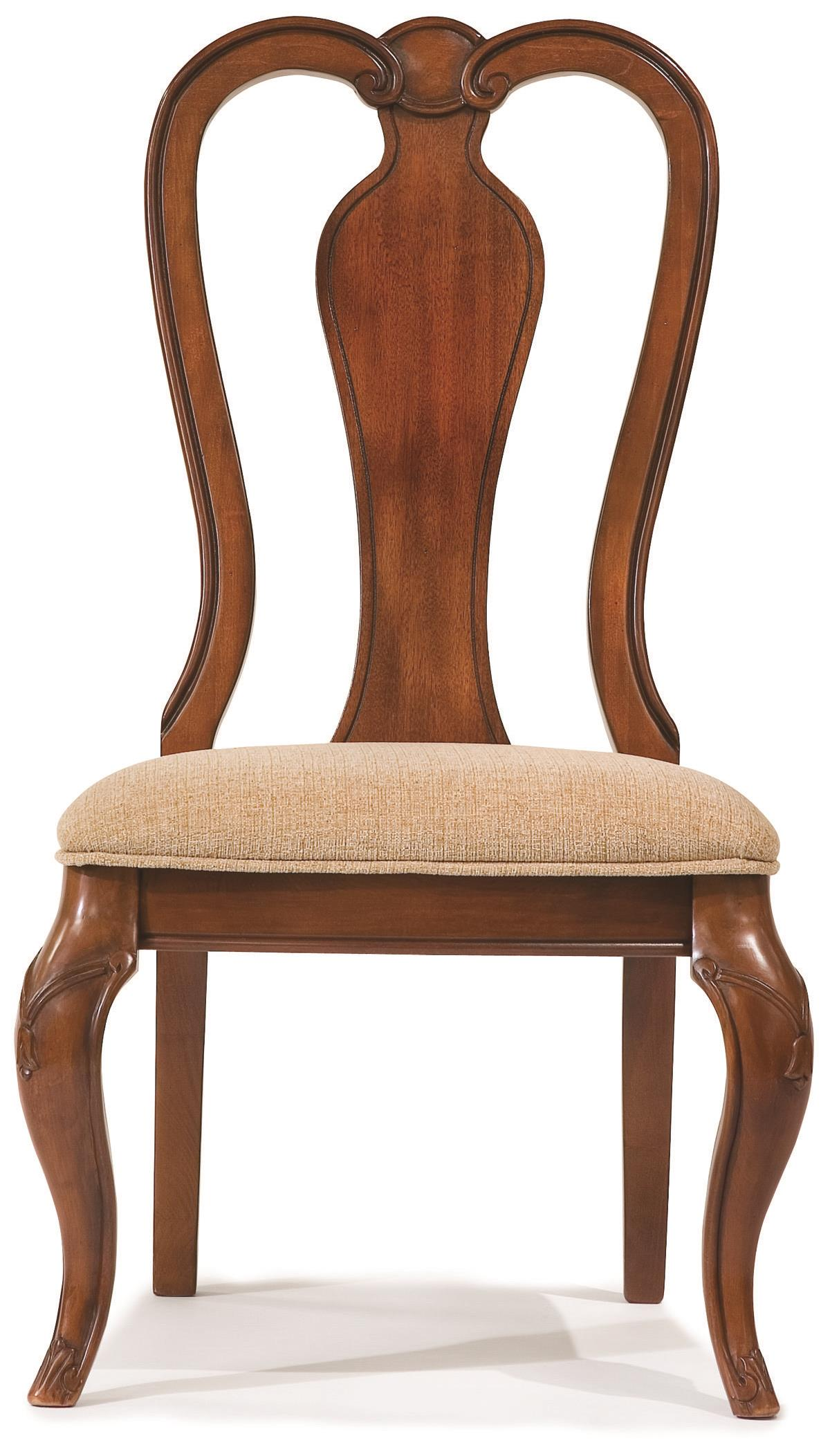 Legacy classic evolution 9180 140 kd queen anne side chair for Dining chair upholstered seat