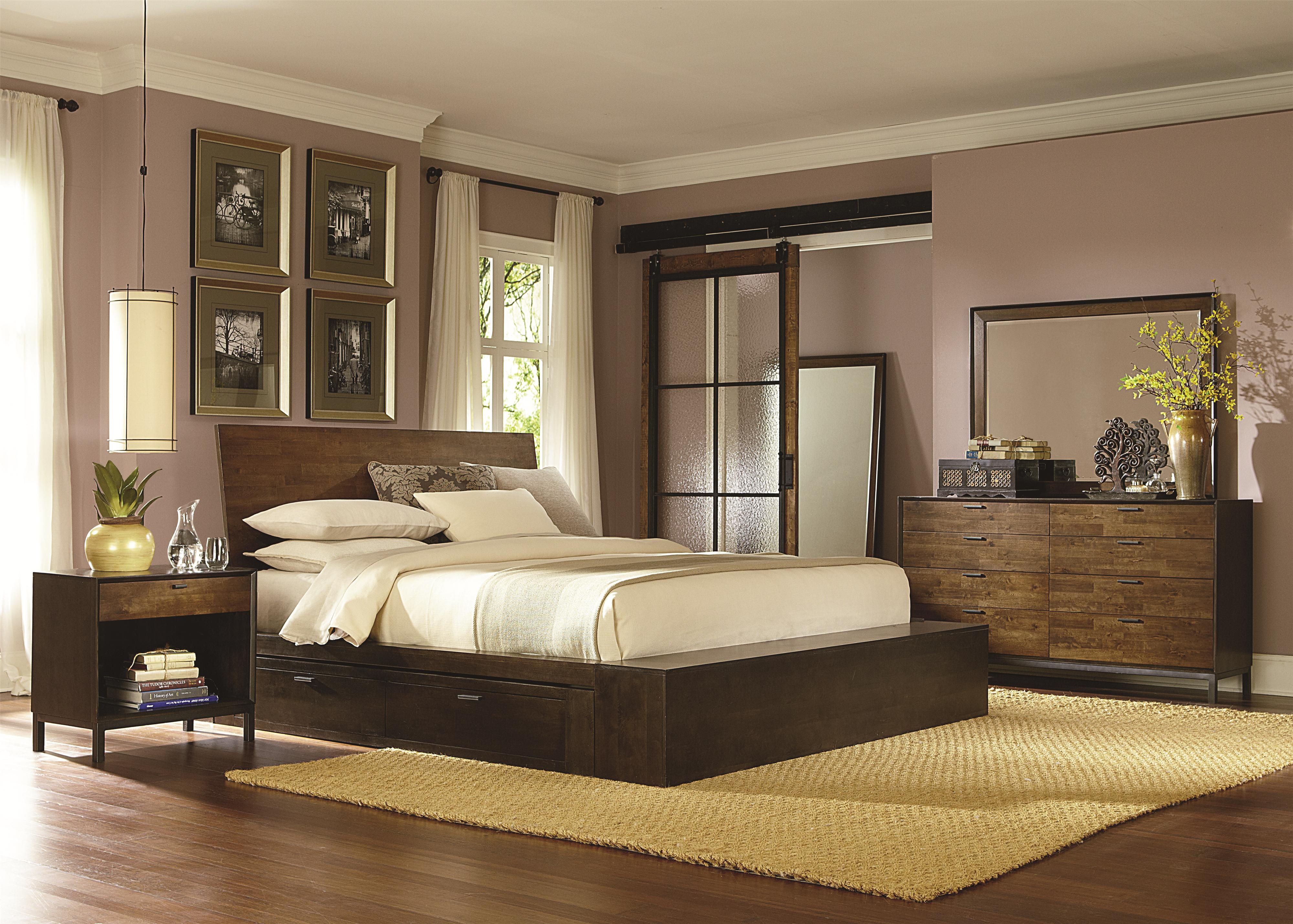Kateri Complete Platform King Bed with Two Storage Drawers by Legacy Classic | Wolf Furniture