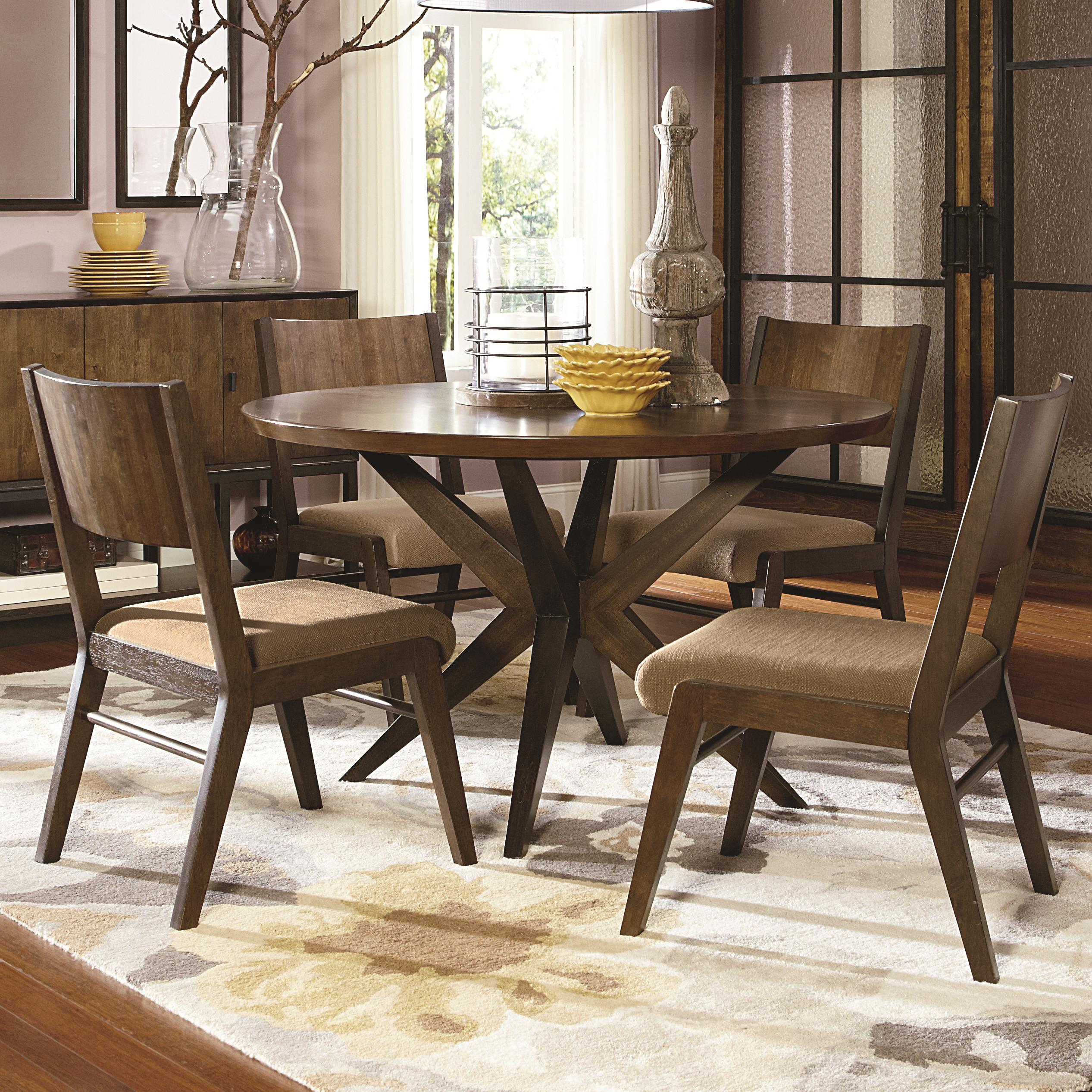 Legacy classic kateri 5 piece pedestal table and wood back for Legacy classic dining table