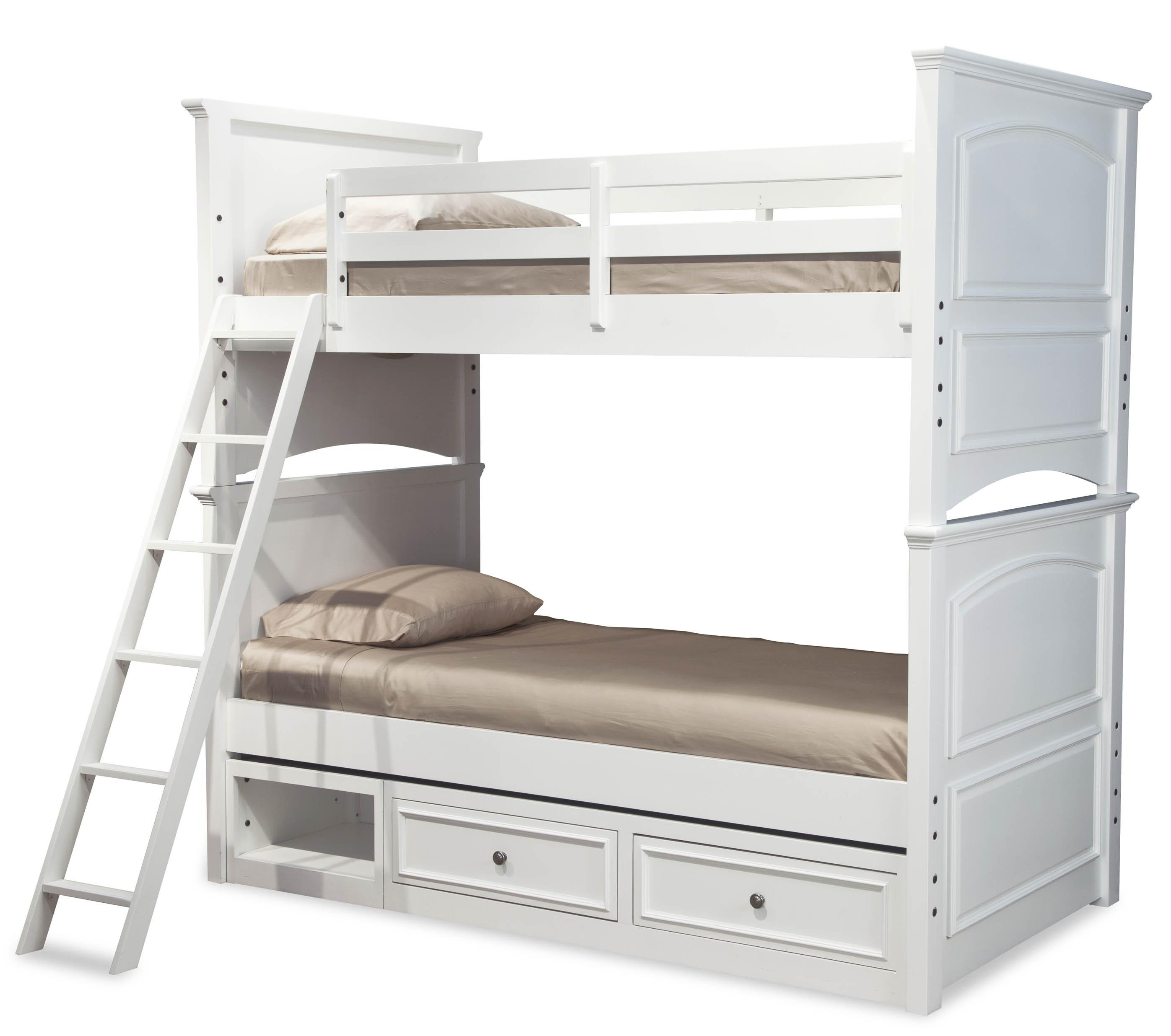 Legacy classic kids madison classic twin over twin size for Over bed shelving unit