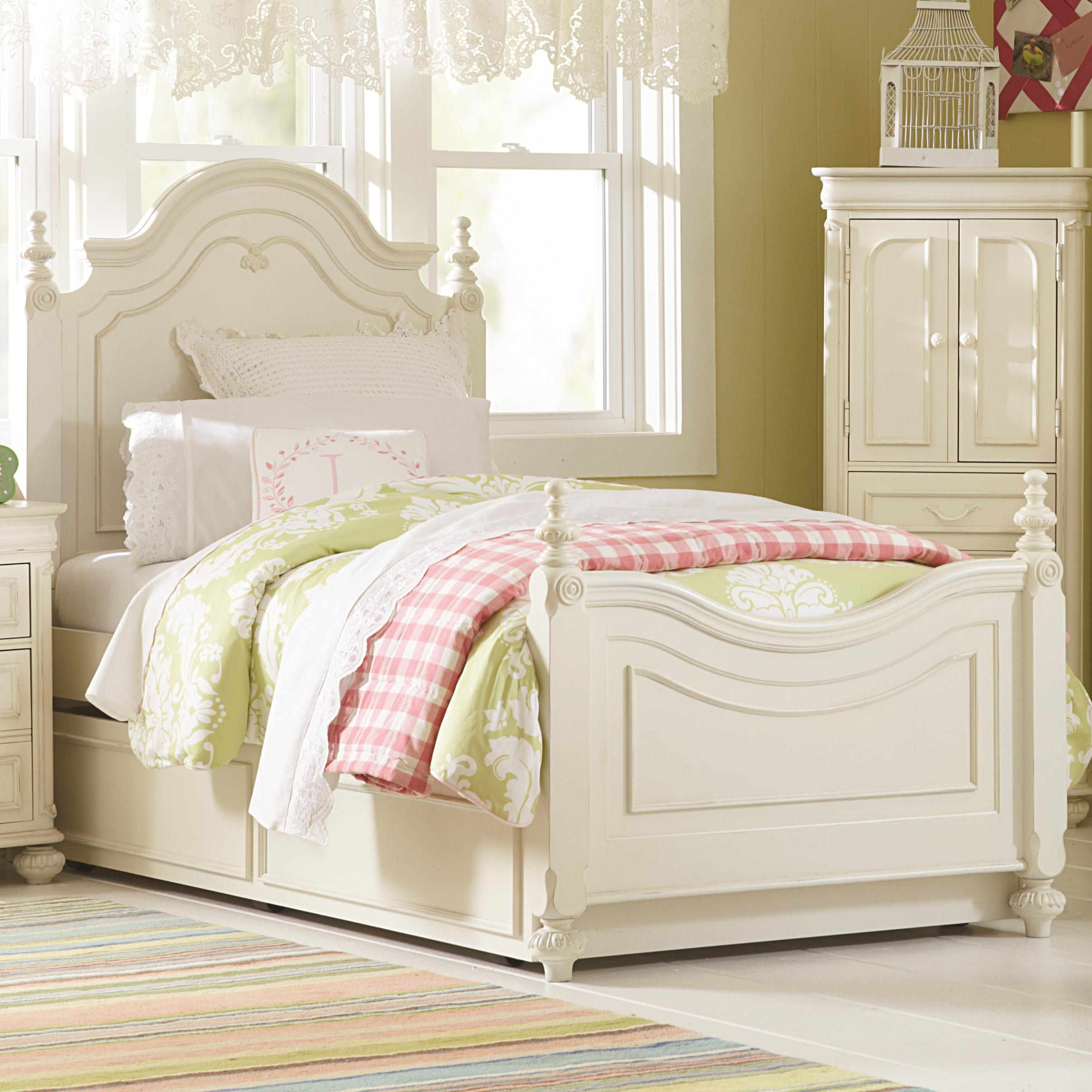 Twin Low Poster Bed with Trundle Unit