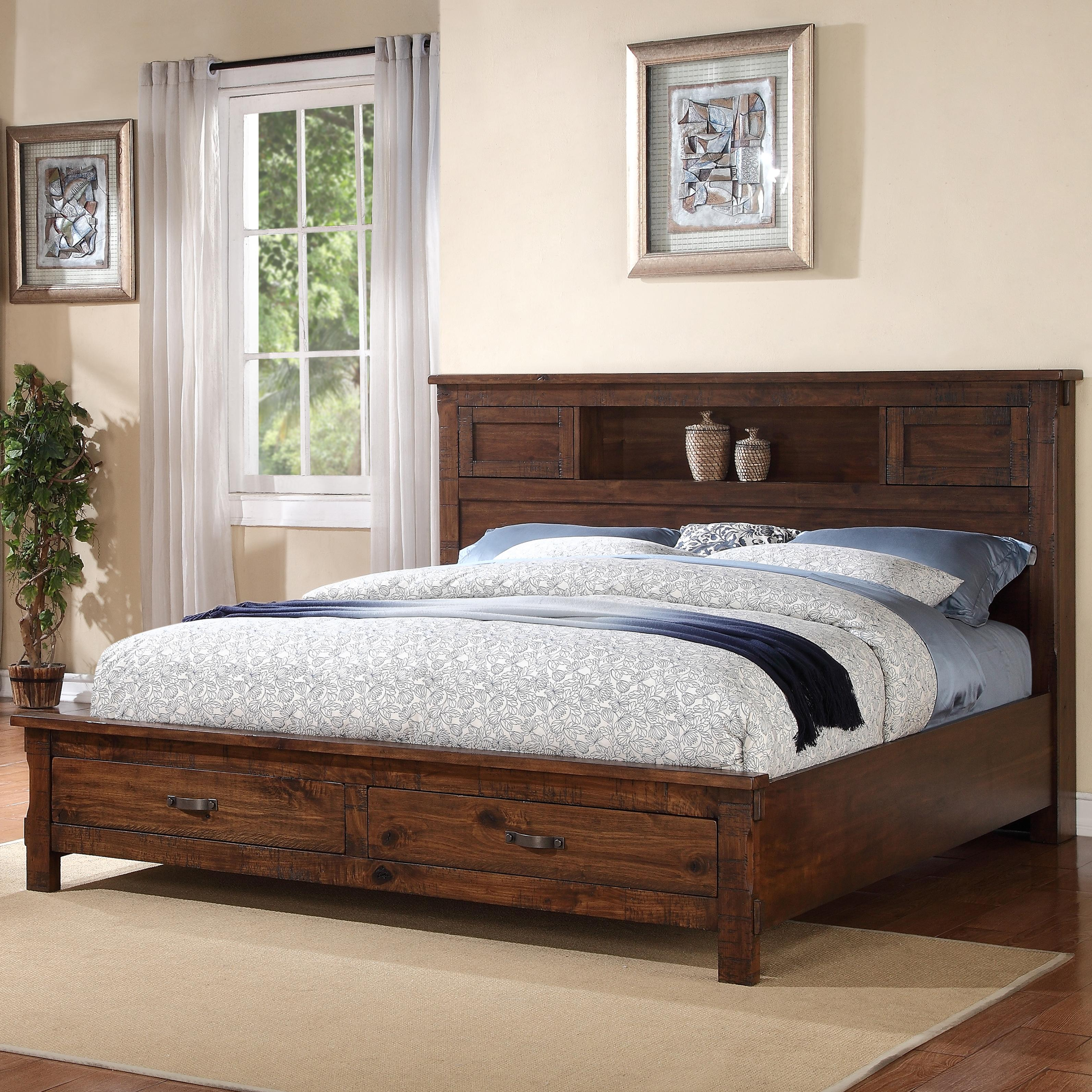 Legends Furniture Restoration Rustic Queen Bed With 2 Drawer Storage Footboard Dunk Bright