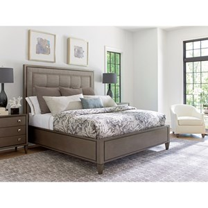 lexington ariana 732 133c st tropez queen size upholstered panel bed in satenay gray fabric
