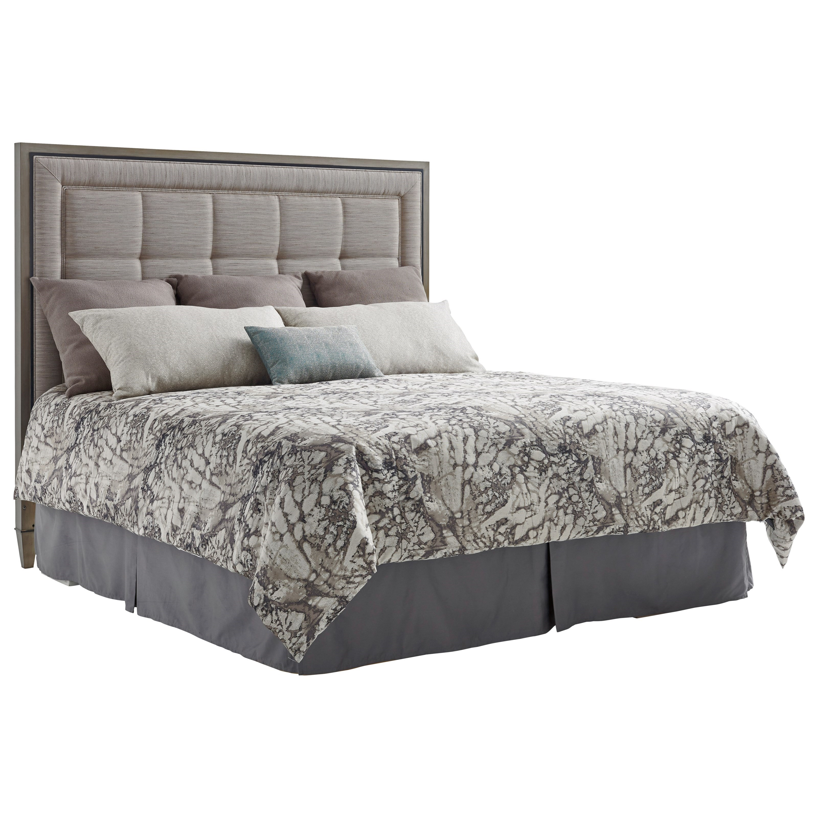 lexington ariana st tropez king size upholstered panel headboard in satenay gray johnny. Black Bedroom Furniture Sets. Home Design Ideas
