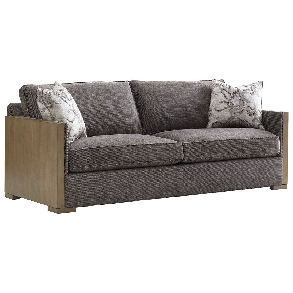 lexington shadow play delshire contemporary sofa with exposed wood arms johnny janosik sofas. Black Bedroom Furniture Sets. Home Design Ideas