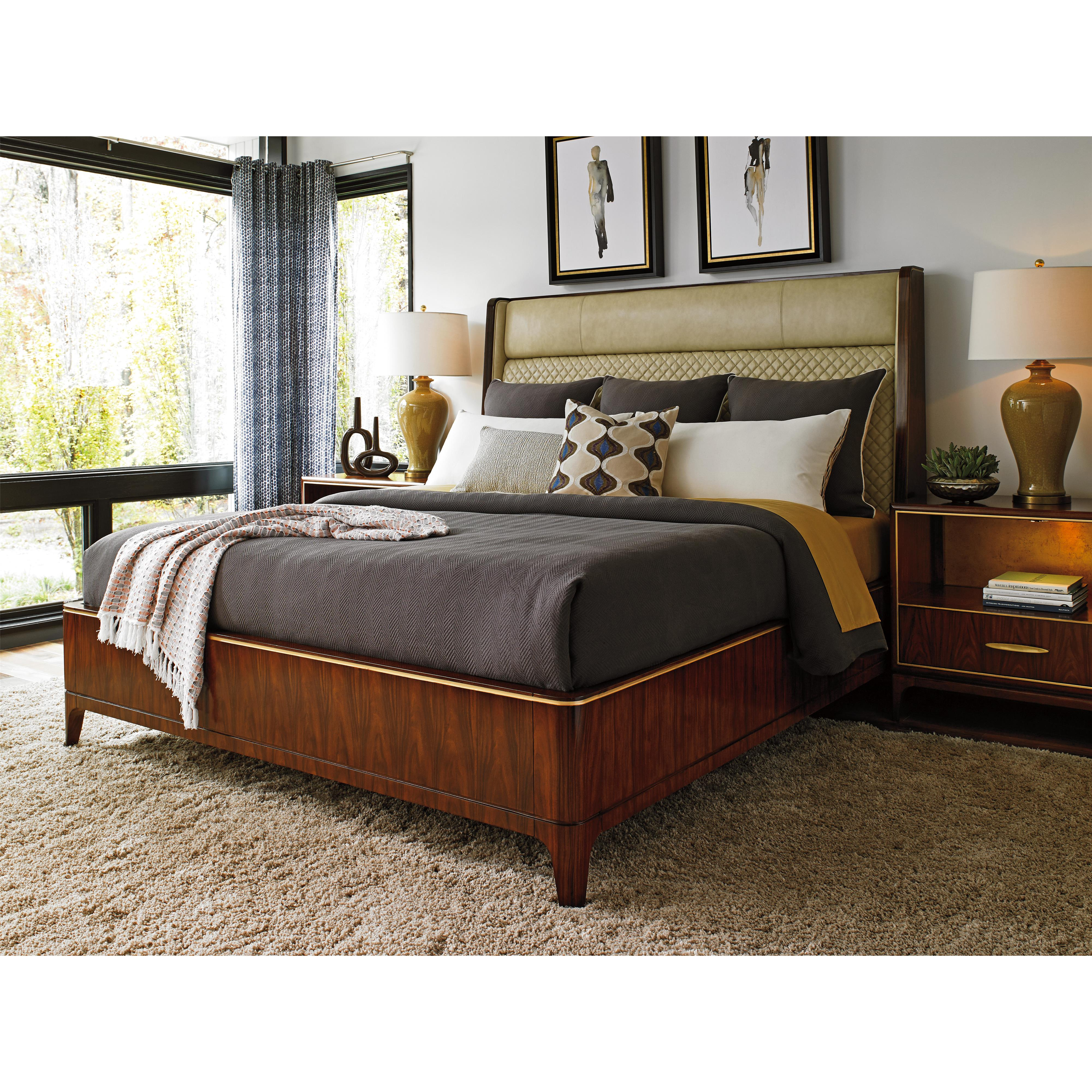 Lexington Take Five Empire Queen Sized Bed With Quilted Leather Shelter Headboard Reeds