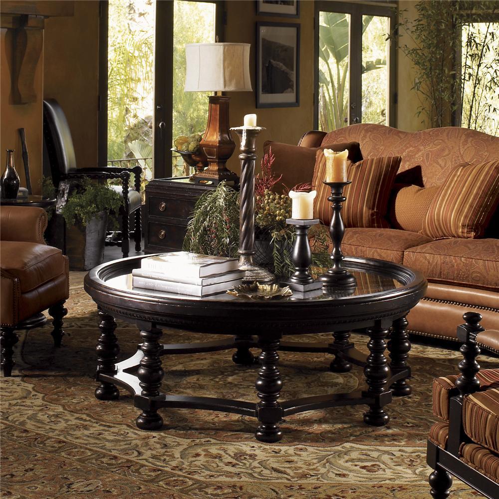 tommy bahama home kingstown round plantation cocktail table jacksonville furniture mart. Black Bedroom Furniture Sets. Home Design Ideas