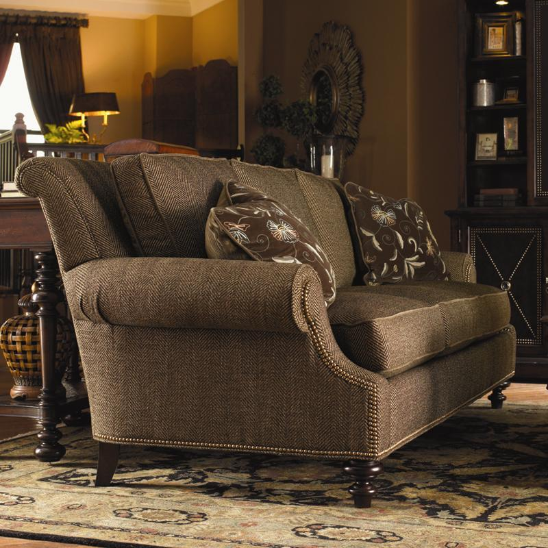 Lexington Lexington Upholstery Darby Loose Back Sofa With Rolled Arms And Turned Wood Feet