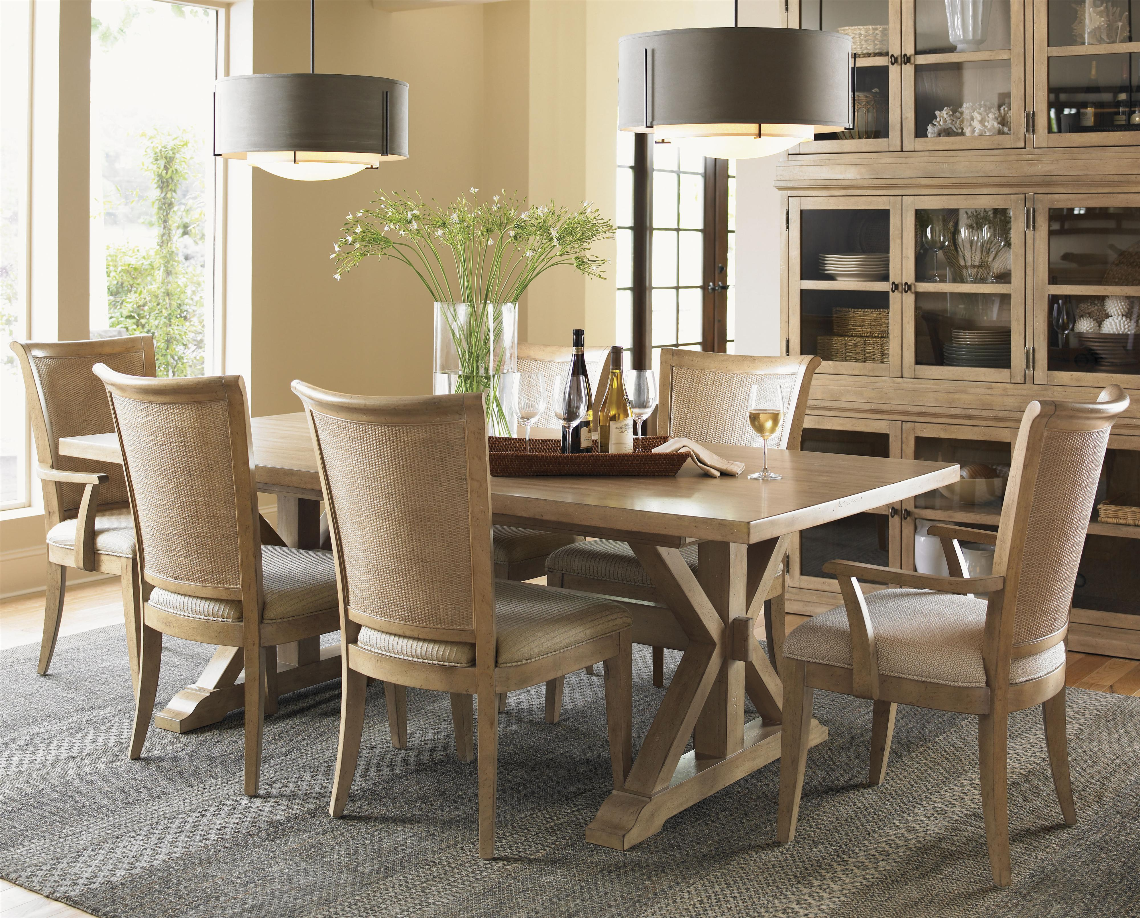 Lexington monterey sands seven piece walnut creek dining table and los altos chairs set baer 39 s Lexington home brands outdoor furniture
