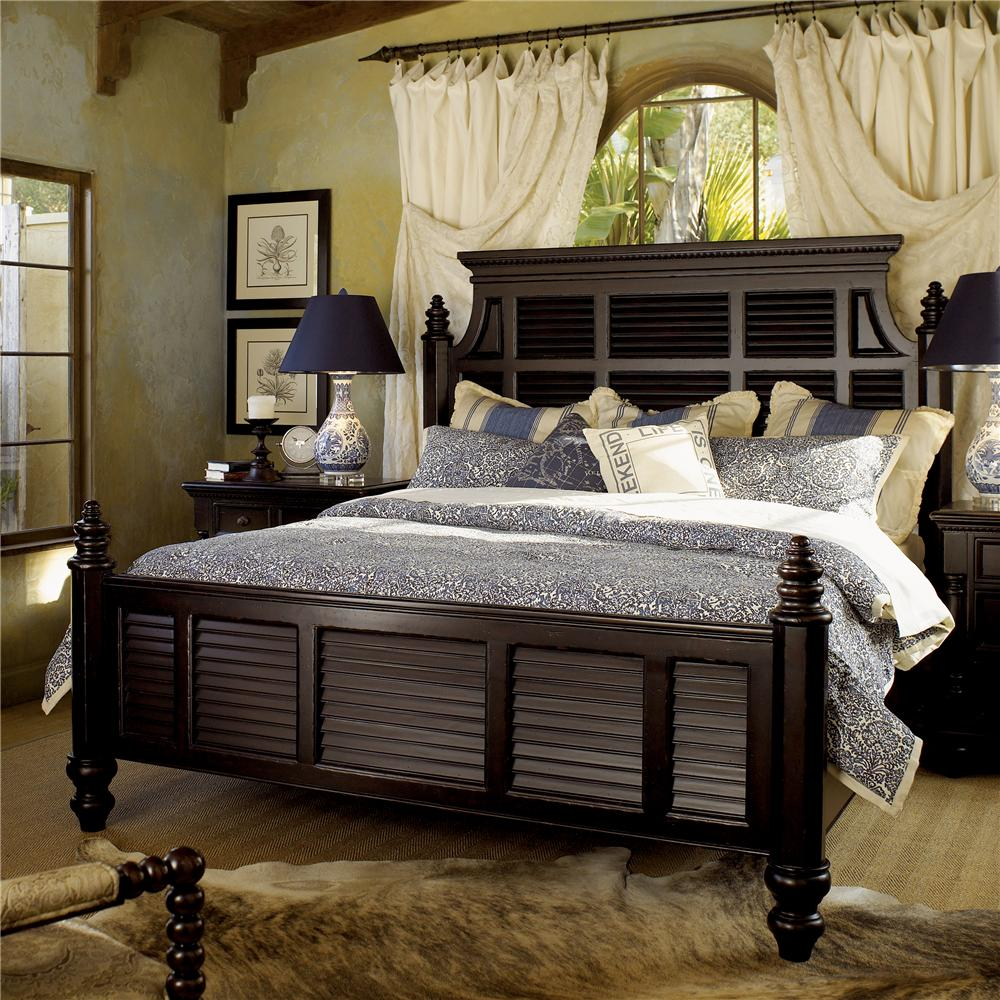 tommy bahama home kingstown king size malabar panel bed with shutter headboard footboard. Black Bedroom Furniture Sets. Home Design Ideas