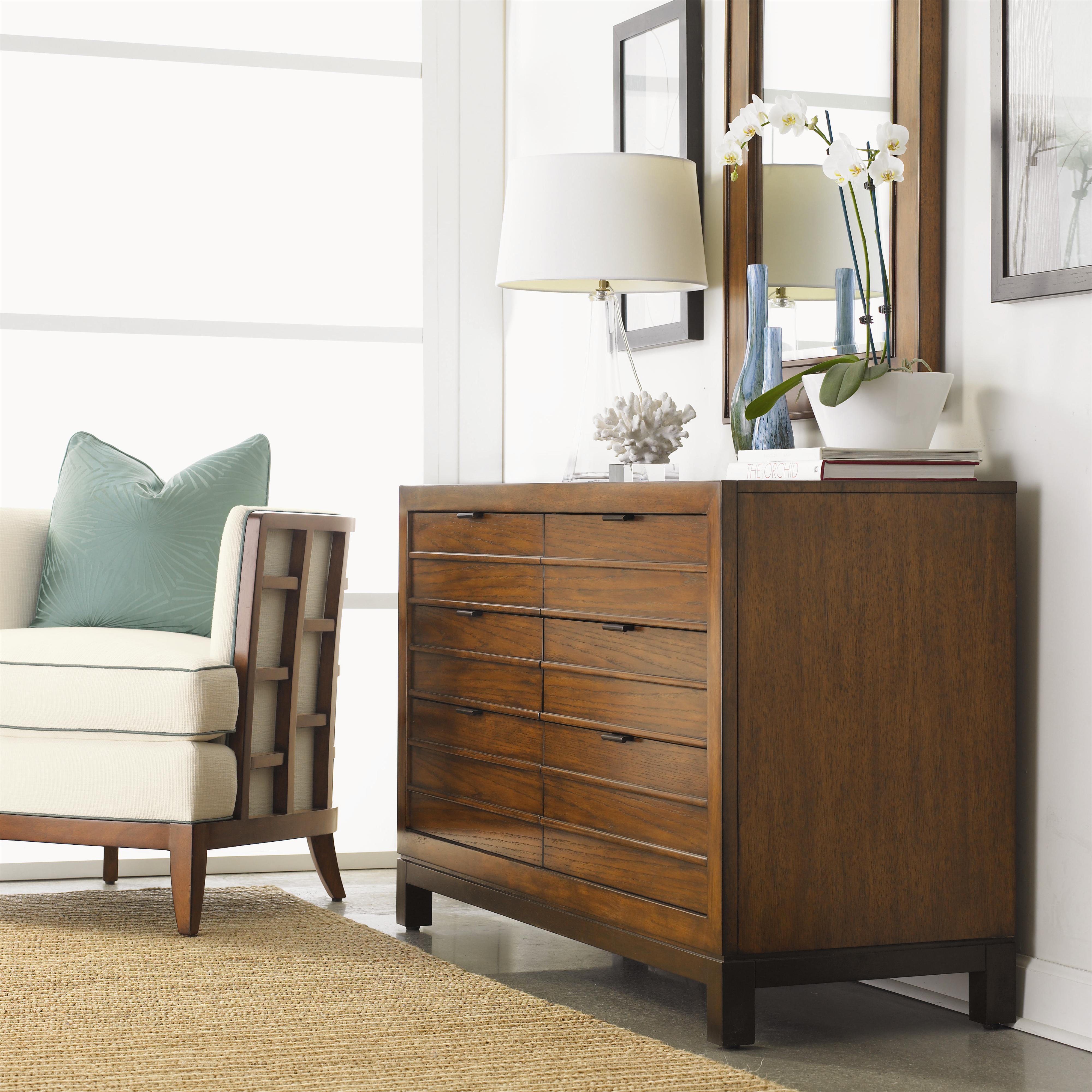 Tommy Bahama Home Ocean Club Six Drawer Palm Bay Dresser Belfort Furniture Dressers