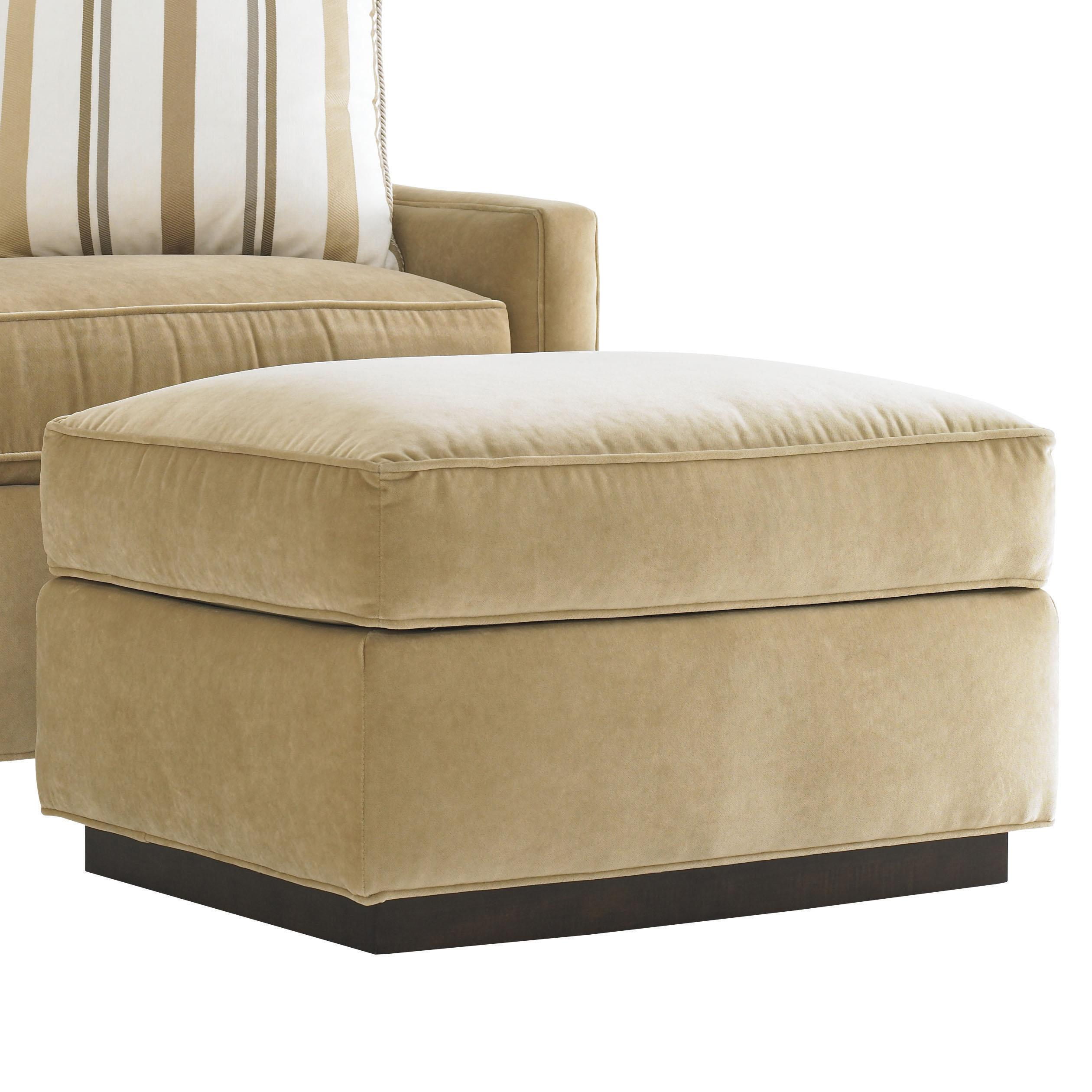 Lexington tower place contemporary bartlett ottoman with exposed wood base reeds furniture Home brands furniture trentham