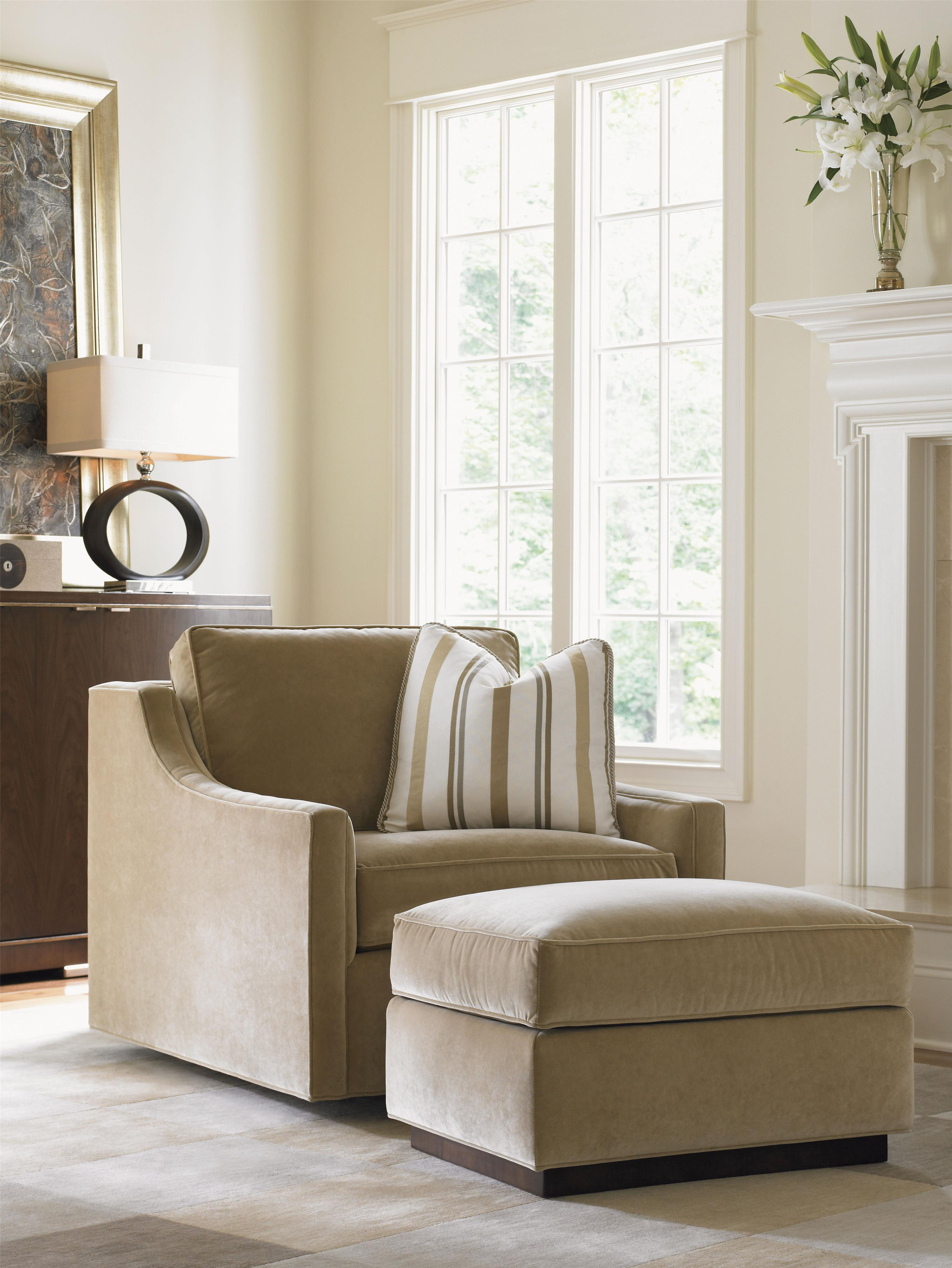 Lexington Tower Place 7566 44 Contemporary Bartlett Ottoman With Exposed Wood Base Baer 39 S