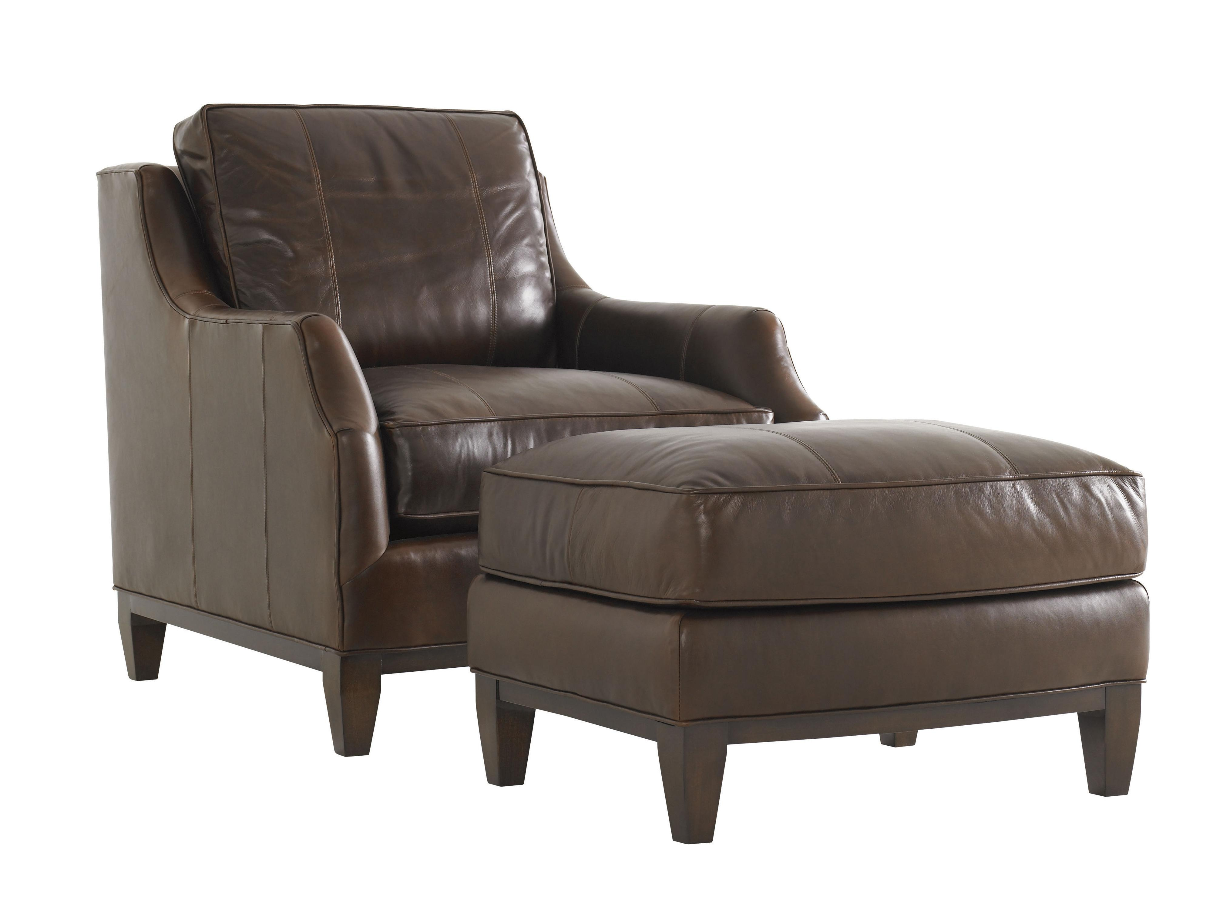 Lexington tower place contemporary conrad chair with exposed wood base belfort furniture Home brands furniture trentham