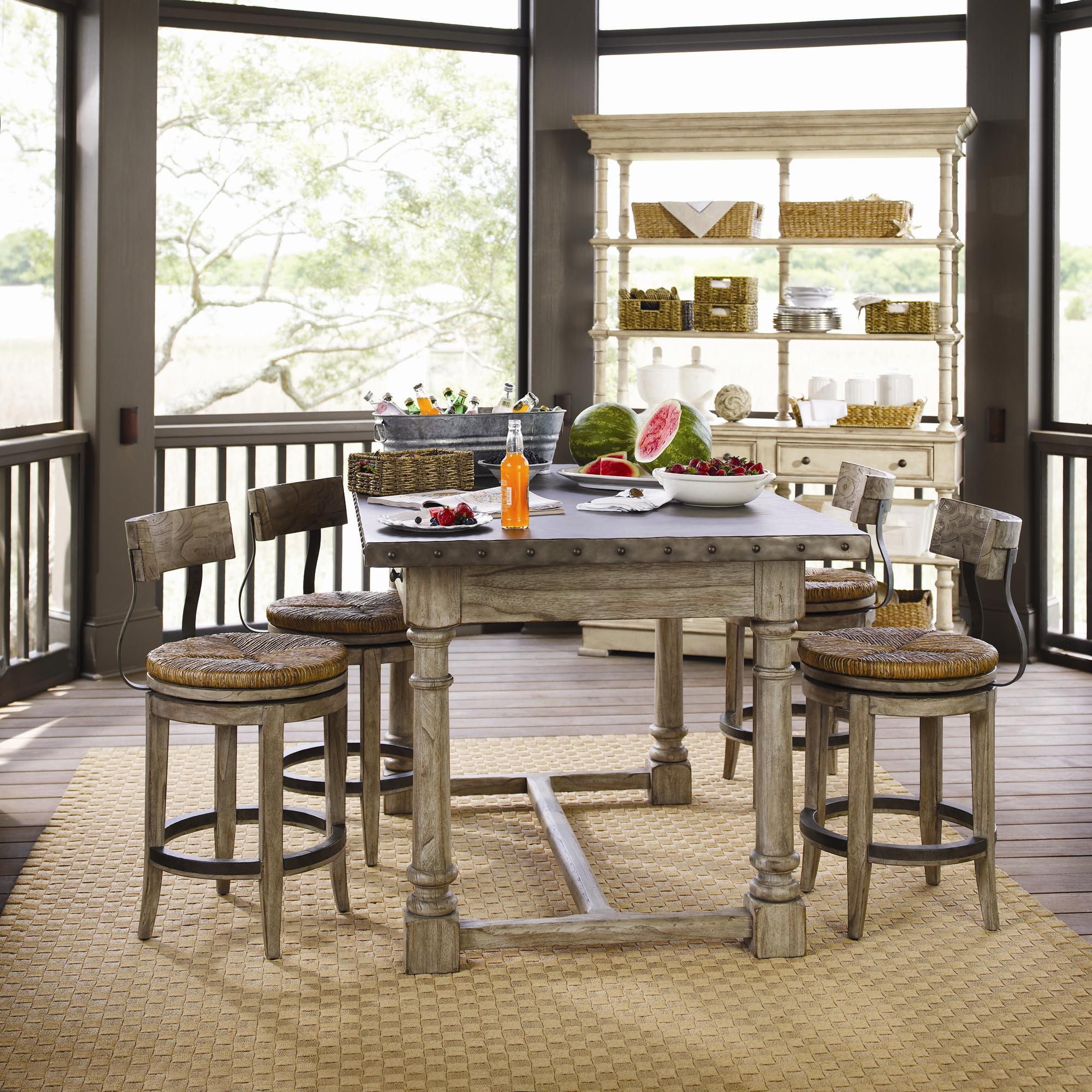 Lexington Twilight Bay 5 Piece Shelter Island Bistro Table Dalton Counter Stools Set John V