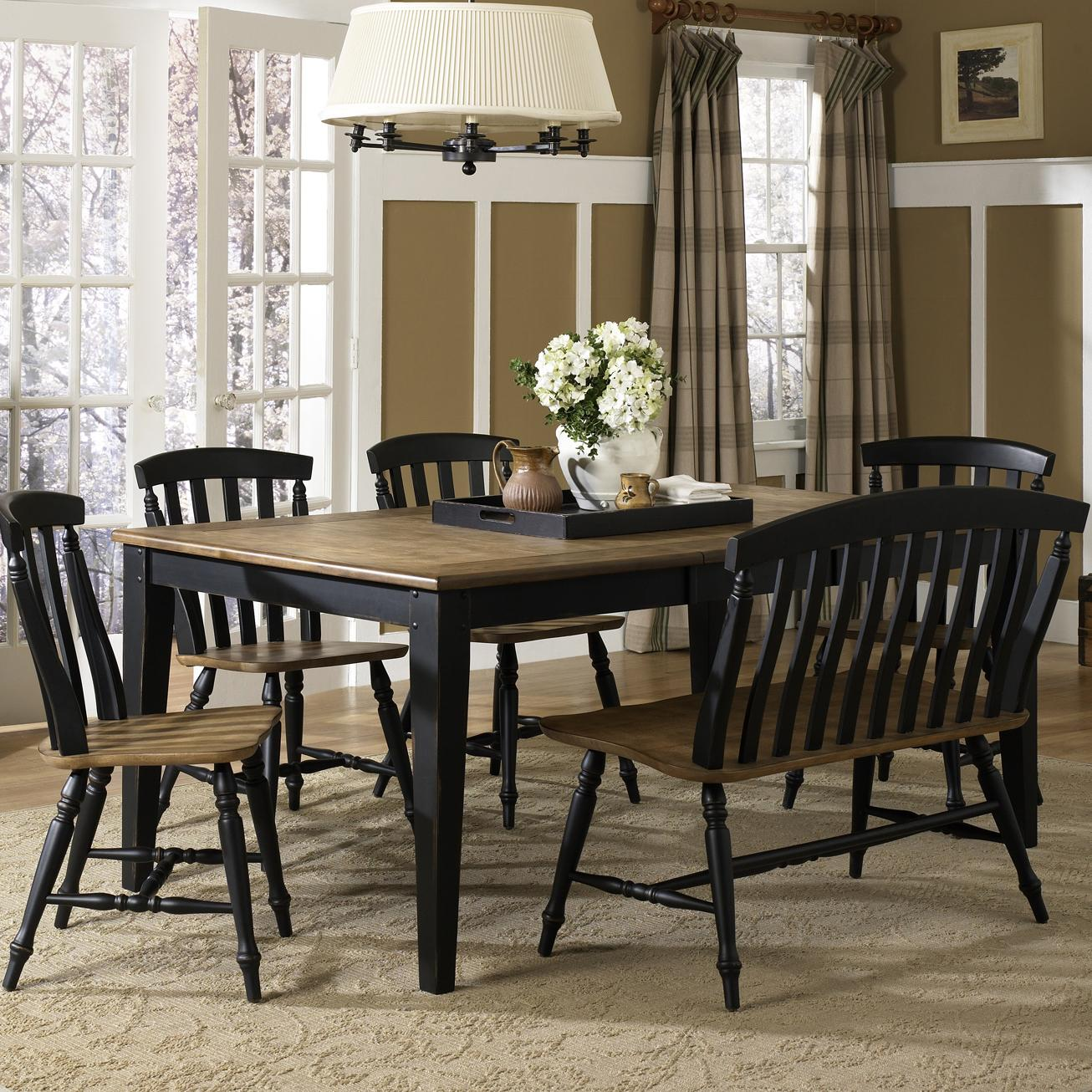 liberty furniture al fresco ii six piece dining table set with chairs and bench wayside. Black Bedroom Furniture Sets. Home Design Ideas
