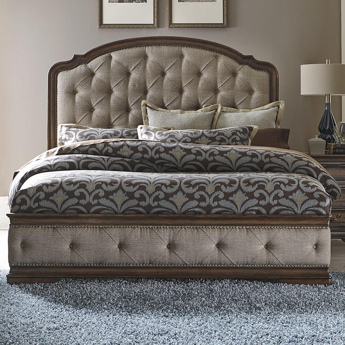 Liberty furniture amelia traditional king upholstered bed with button tufting wayside for Bedroom benches king size bed