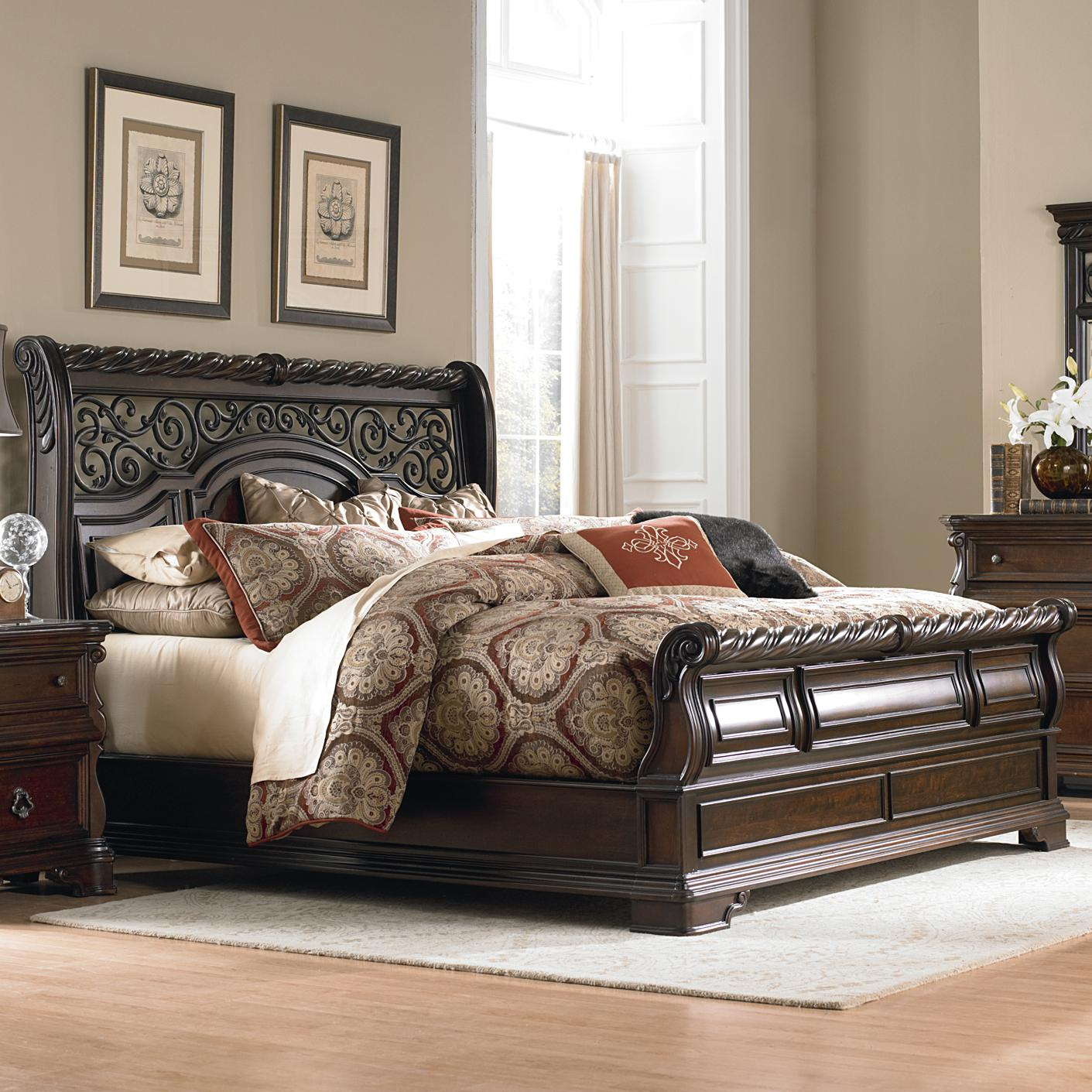 Liberty furniture arbor place 575 br ksl king traditional sleigh bed great american home store American home furniture bedroom sets