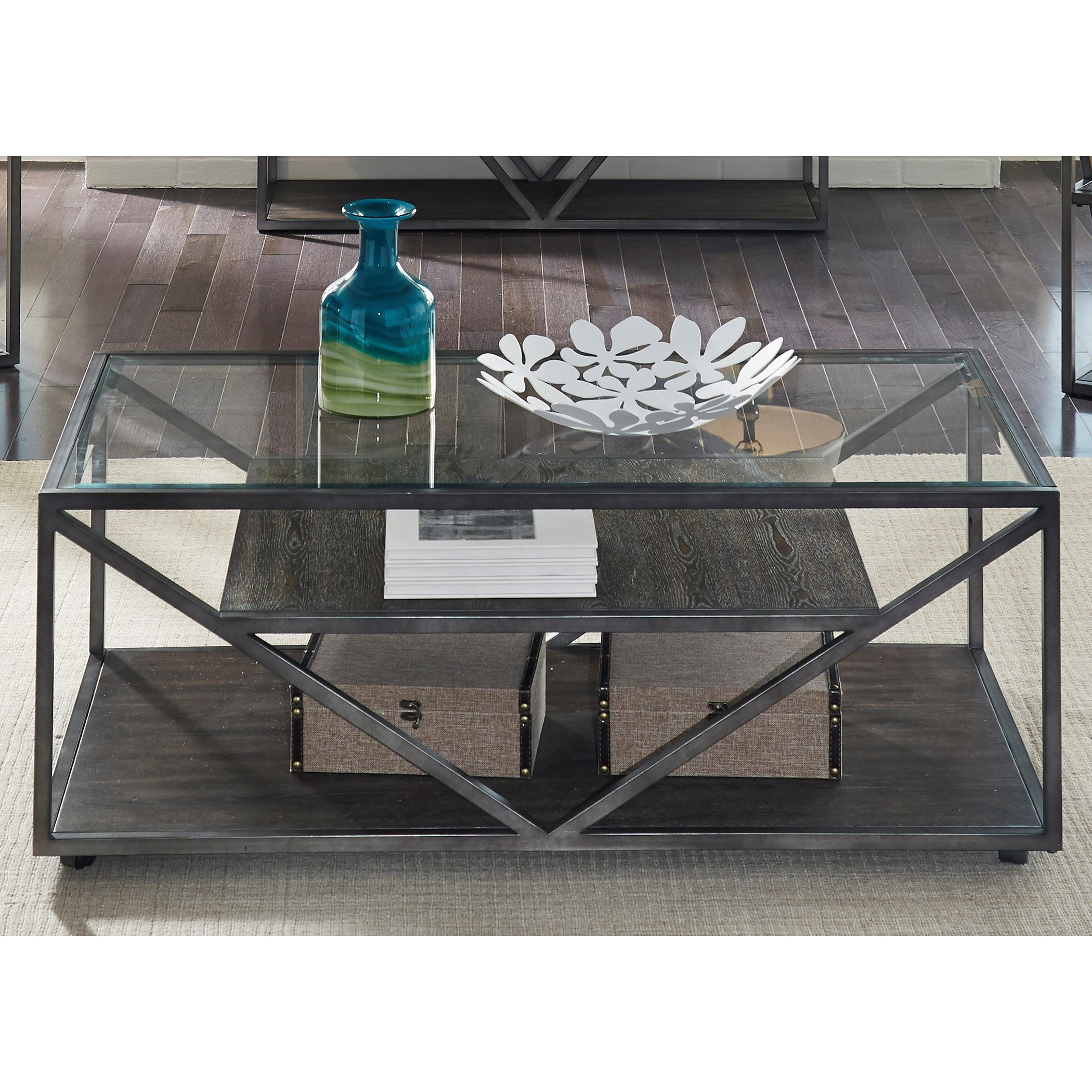 Urban rectangular cocktail table with glass top rotmans for Coffee table urban