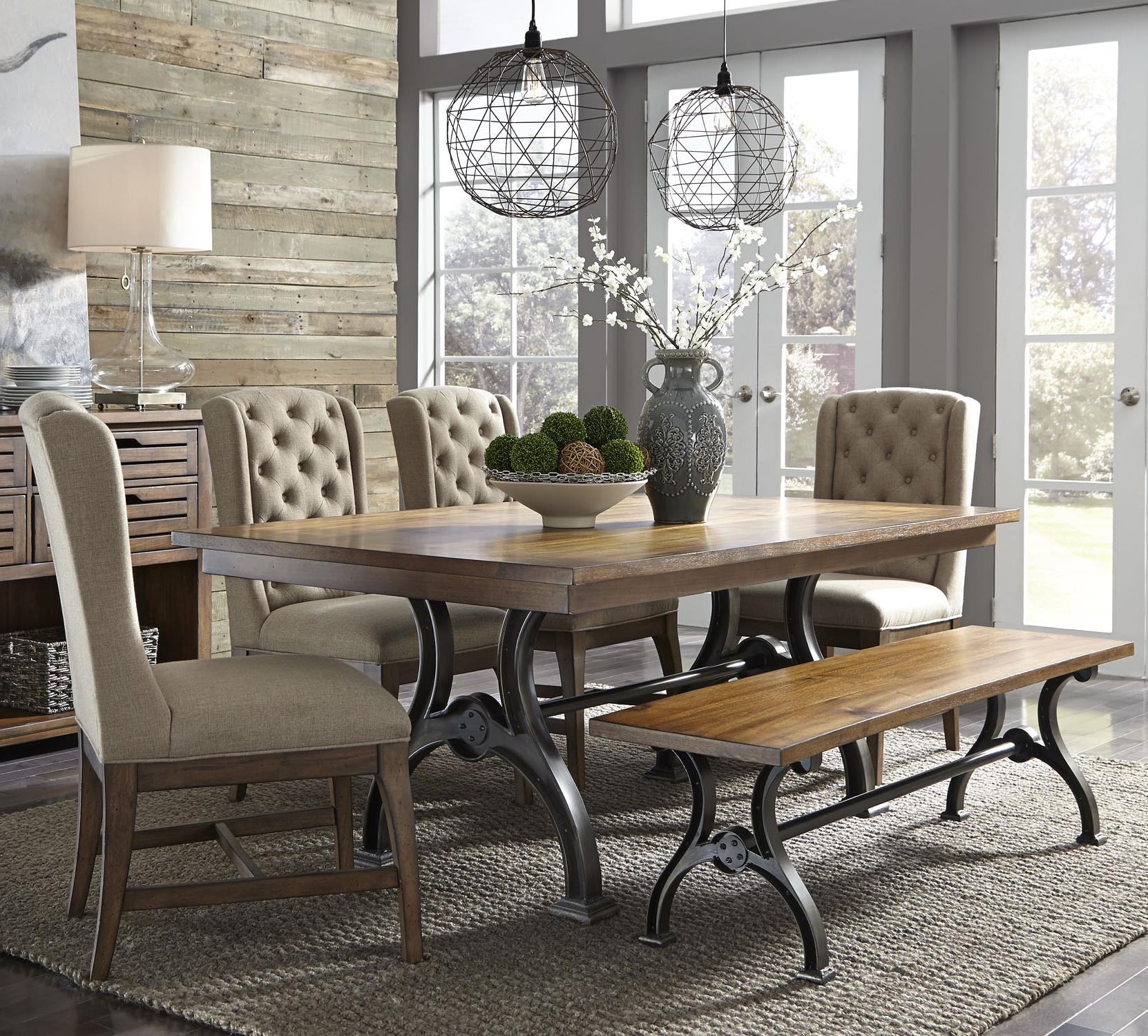 Liberty furniture arlington 6 piece trestle table set with for Dining room tables jacksonville nc