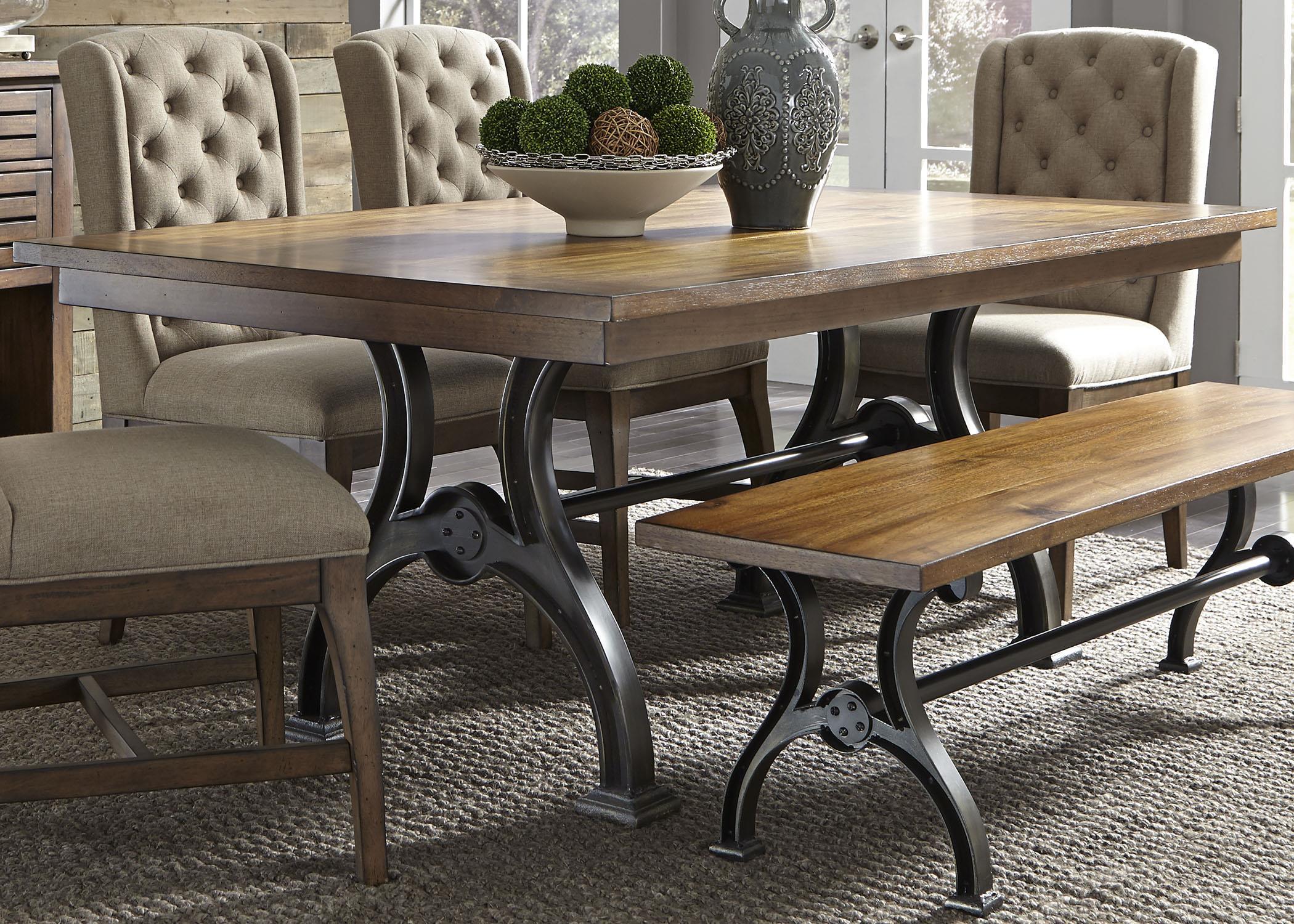 liberty furniture arlington 411 t4274 trestle table with metal base hudson 39 s furniture. Black Bedroom Furniture Sets. Home Design Ideas