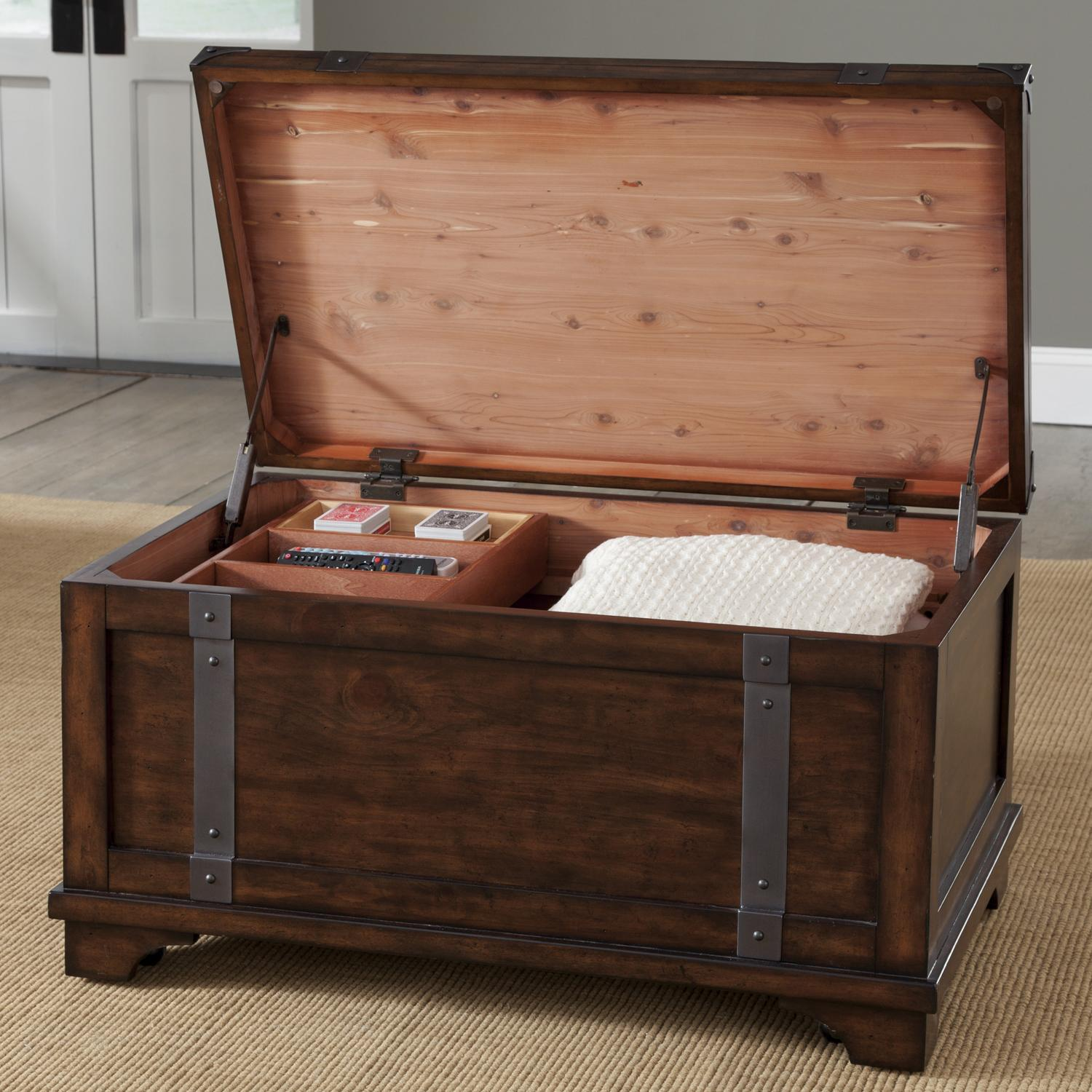 liberty furniture aspen skies industrial casual storage trunk with removable storage box. Black Bedroom Furniture Sets. Home Design Ideas