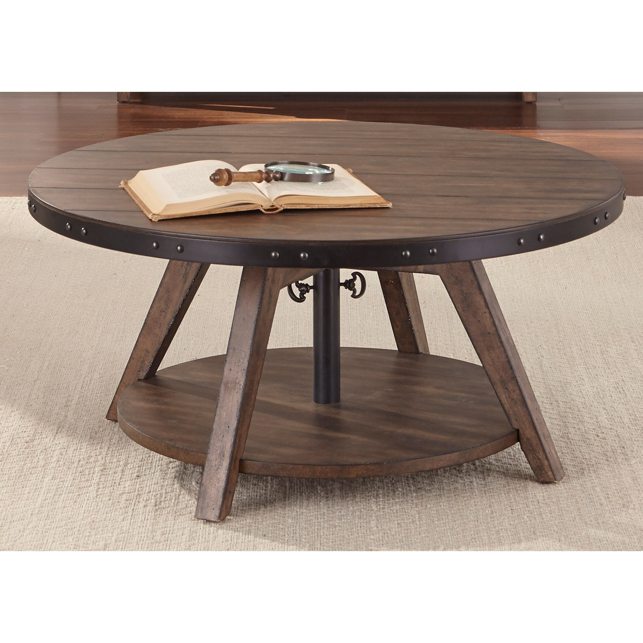 Liberty furniture aspen skies industrial casual adjustable for Cocktail tables round