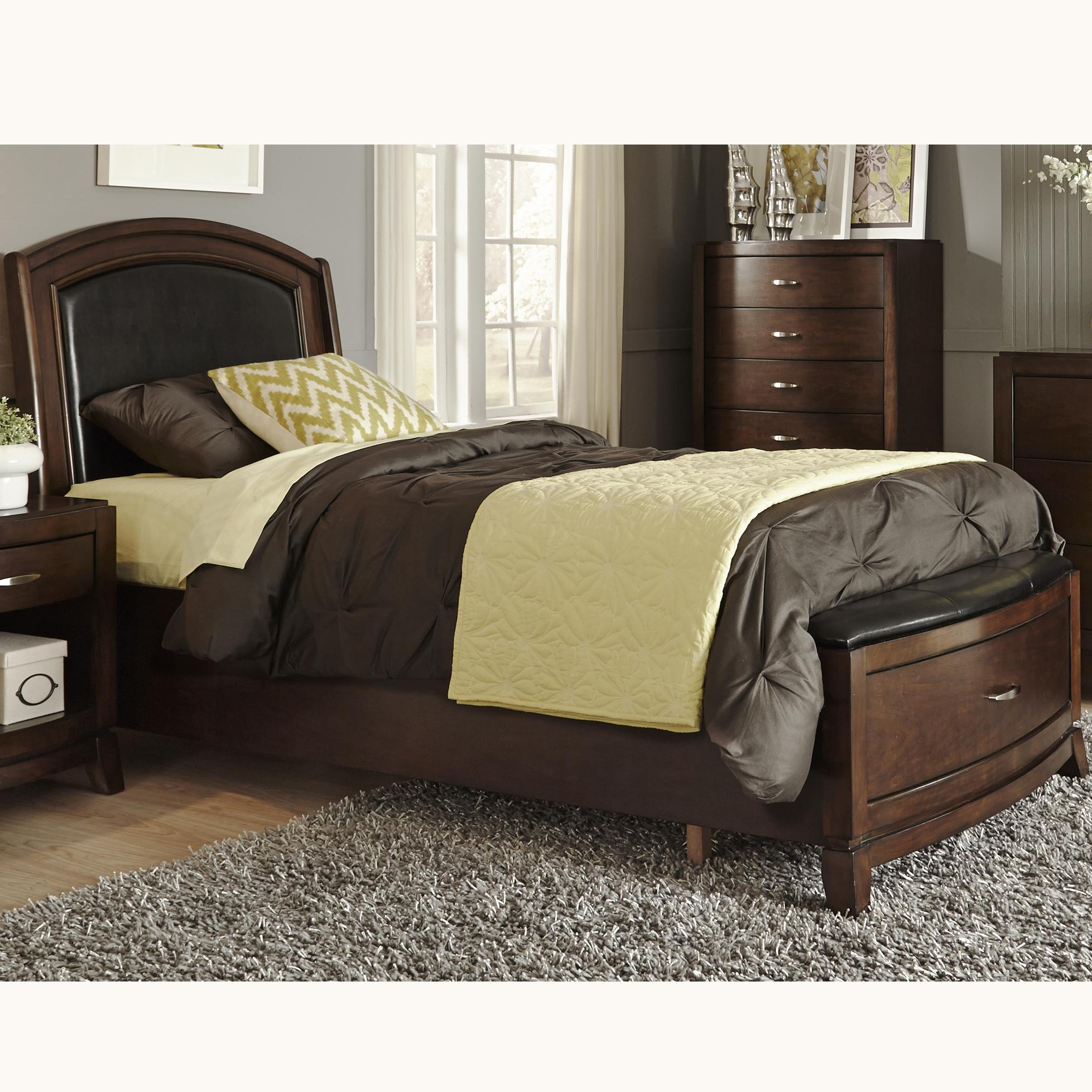 Avalon full storage bed with leather headboard and 1 for Full bedroom sets with mattress