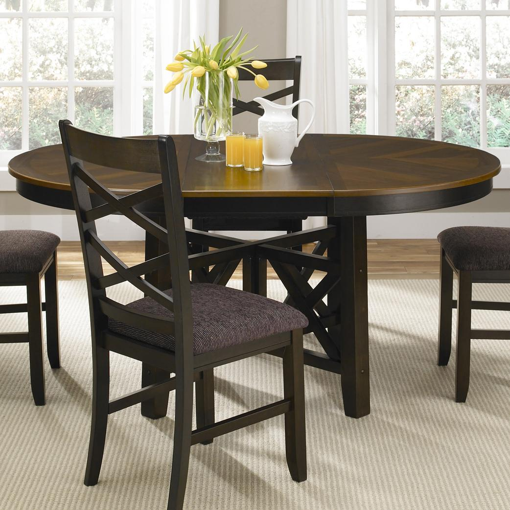 Liberty furniture bistro ii round to oval single pedestal for Pedestal dining table and chairs