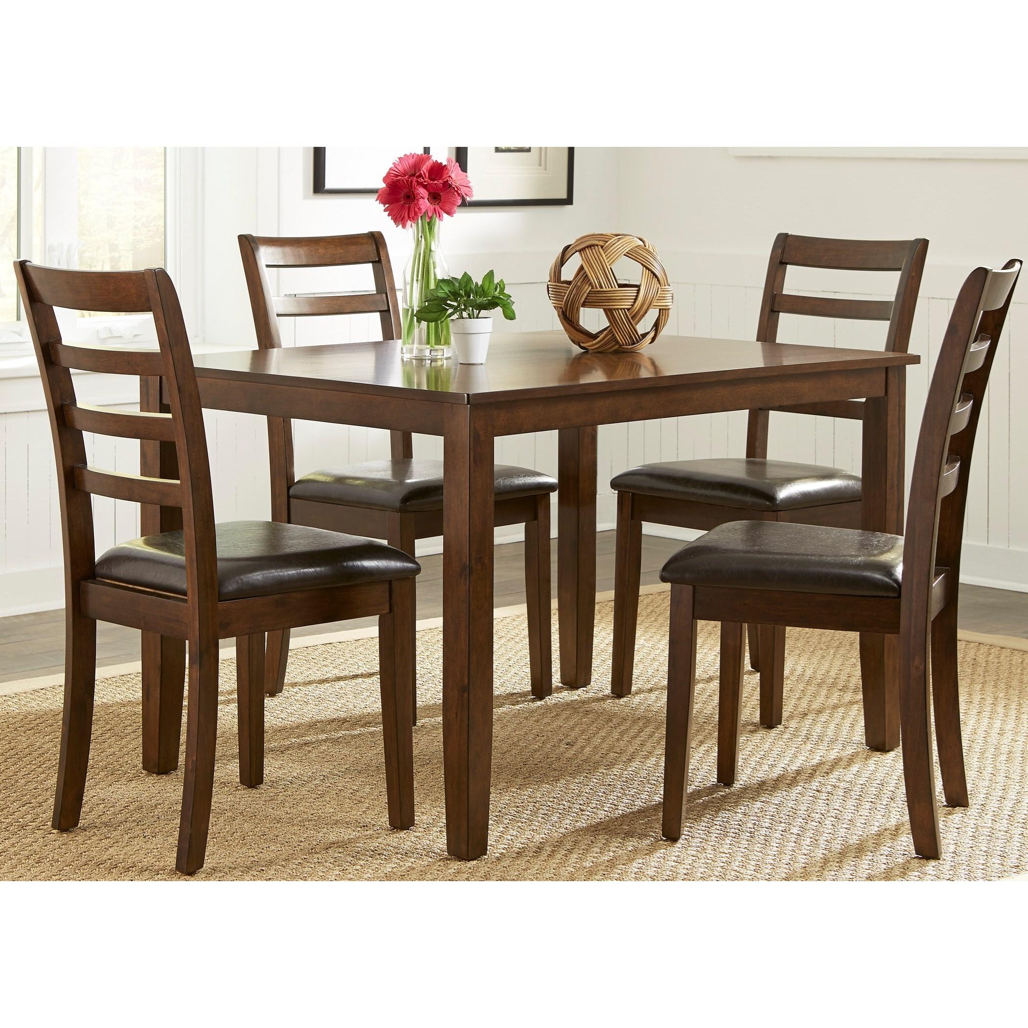 Bradshaw casual dining 5 piece rectangular leg table set for Casual dining table set