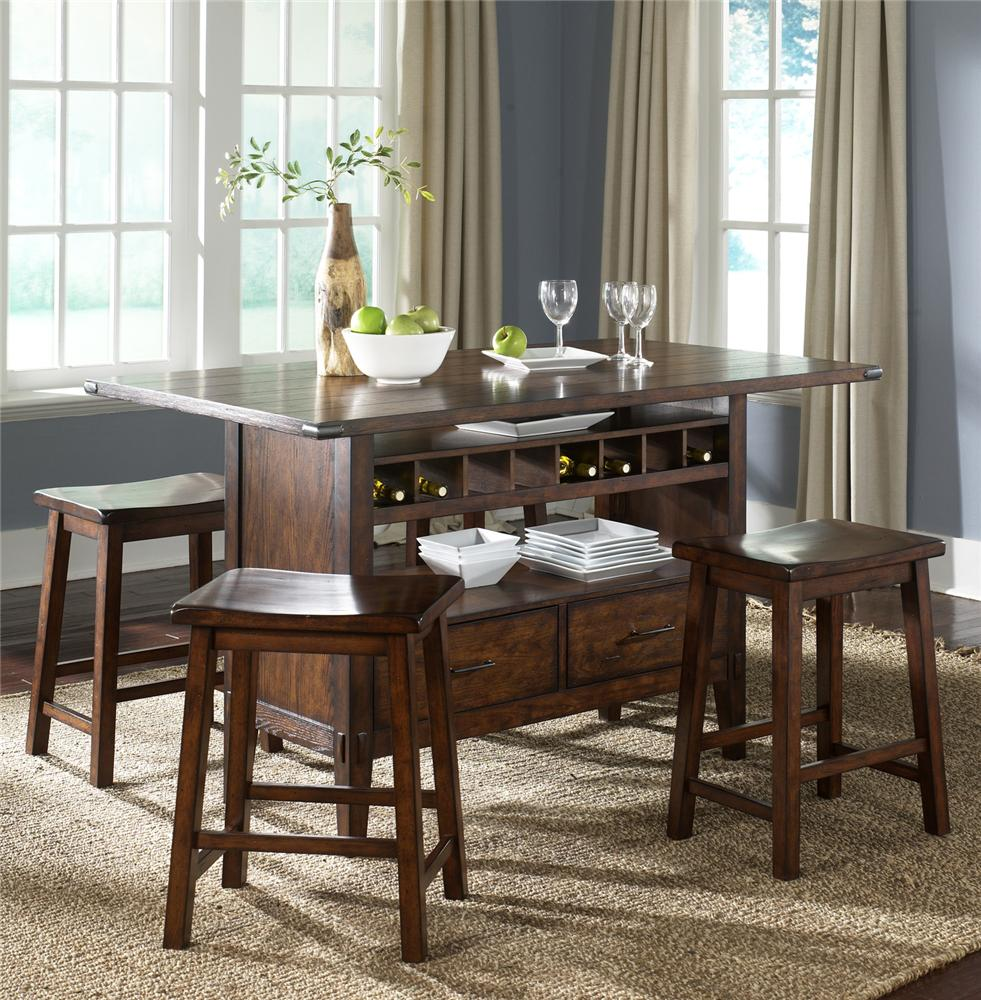 Liberty Furniture Cabin Fever Center Island Pub Table With 4 Sawhorse Barstools Wayside
