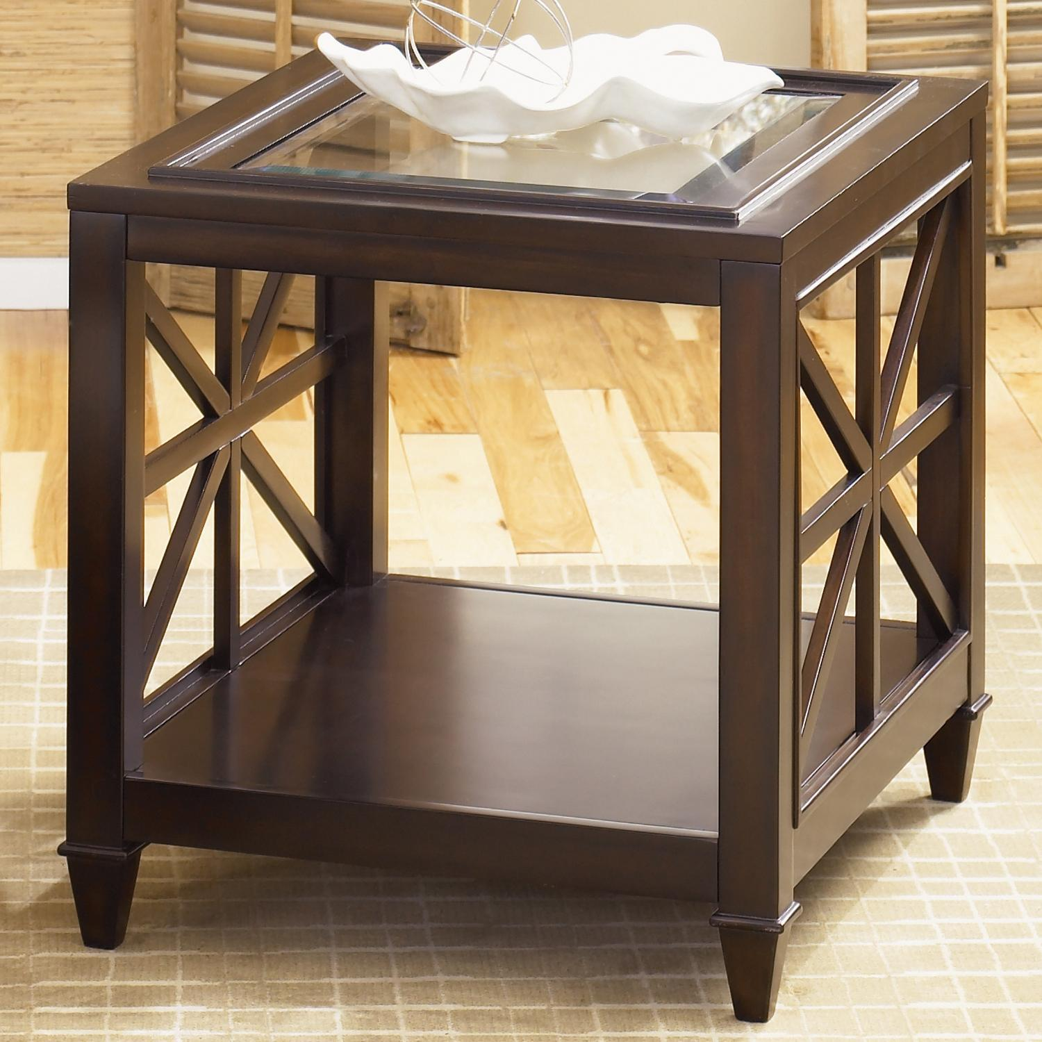 Liberty furniture caroline end table with glass top for Dining room tables jacksonville nc