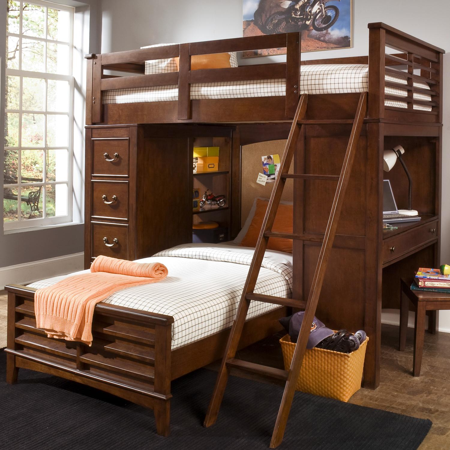 Chelsea Square Youth Twin Loft Bed Unit with Built In Desk