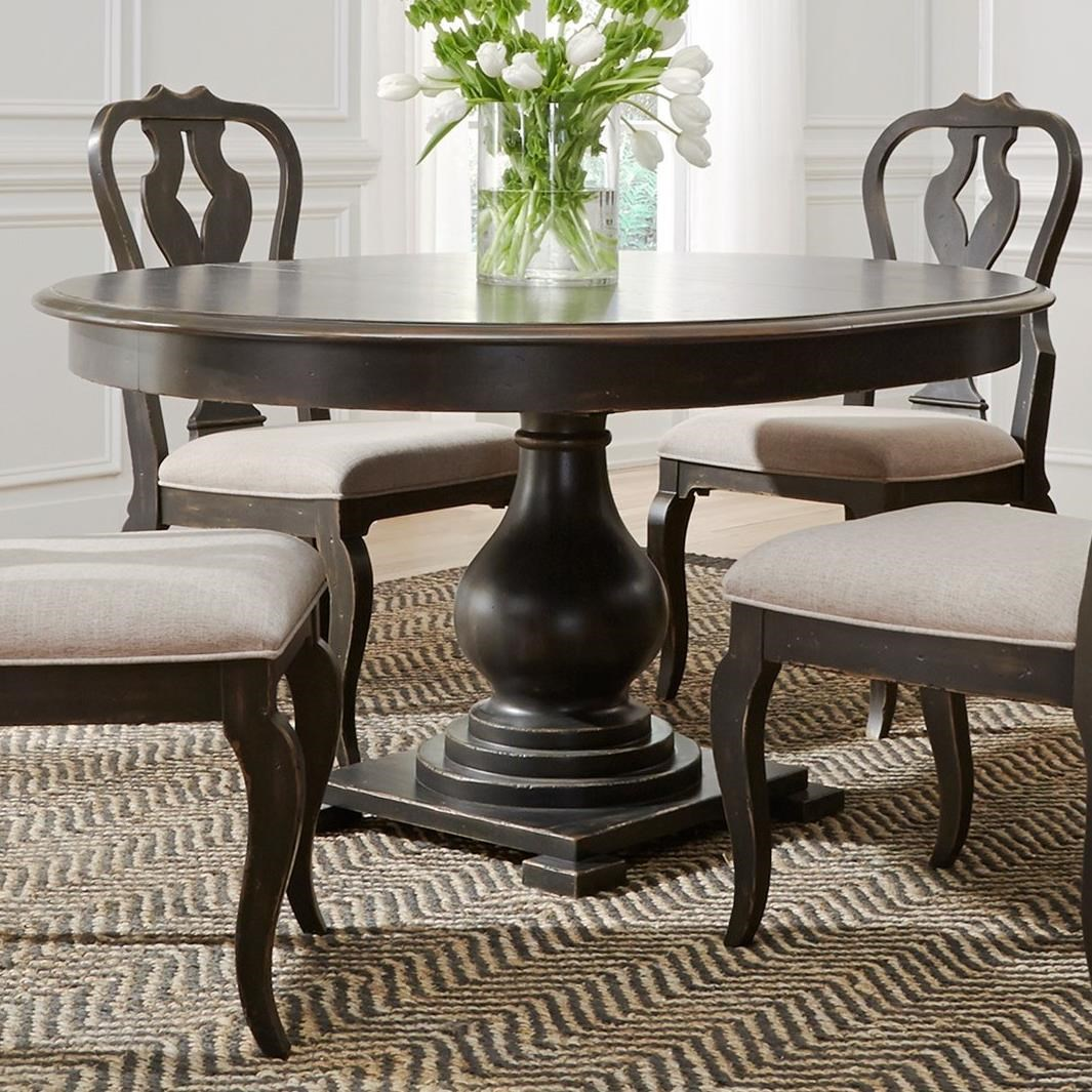 liberty furniture chesapeake relaxed vintage round pedestal table with table leaf royal. Black Bedroom Furniture Sets. Home Design Ideas