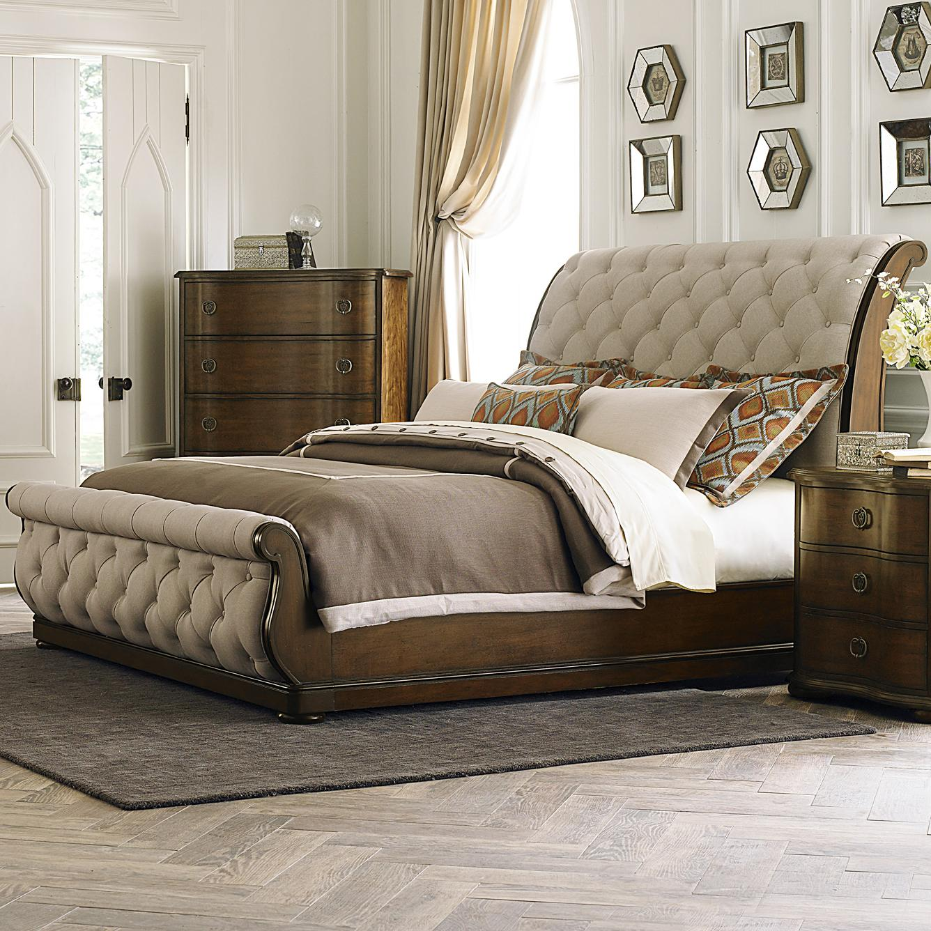 Liberty furniture cotswold transitional upholstered king for King sleigh bed bedroom sets