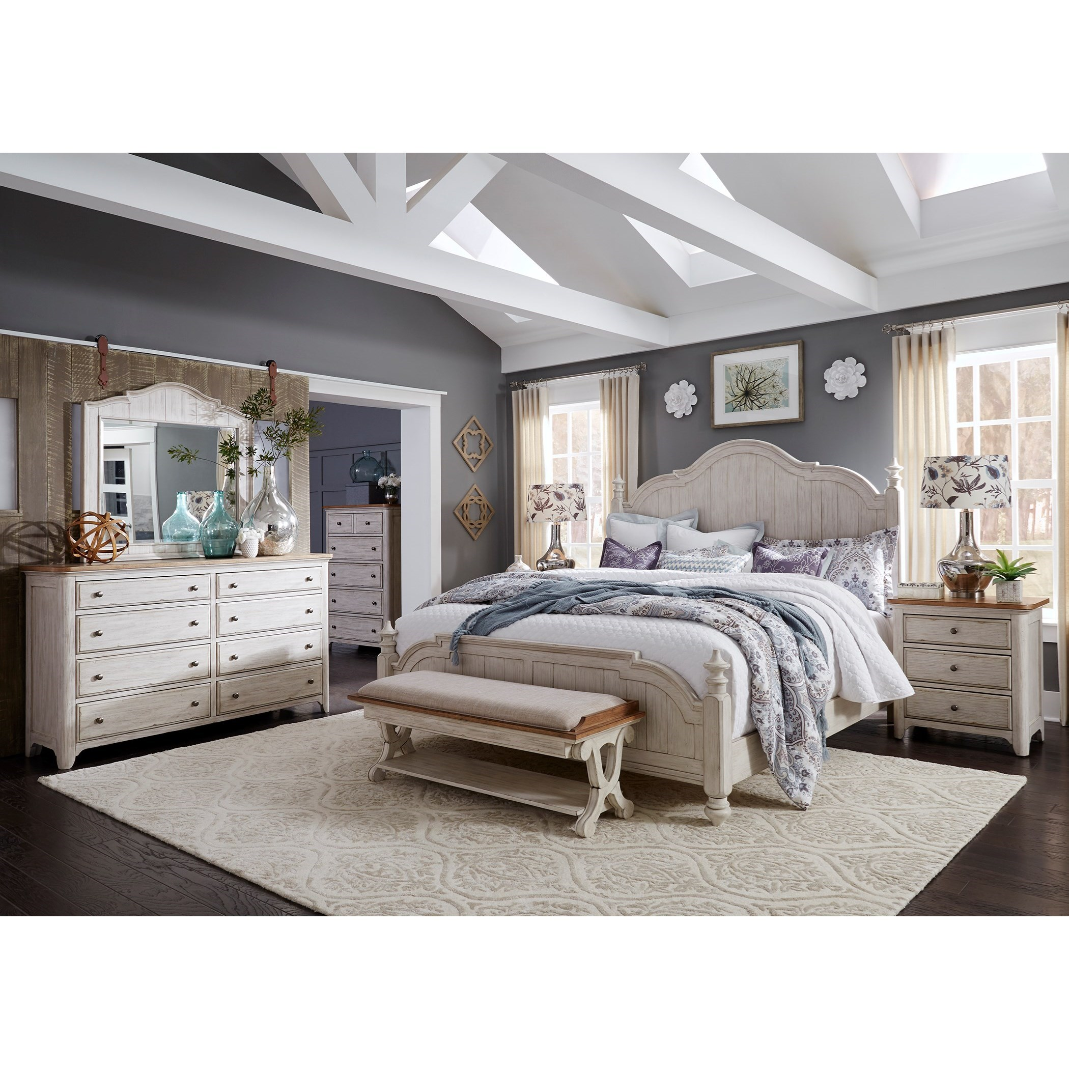 Liberty furniture farmhouse reimagined queen bedroom group for Bedroom furniture groups