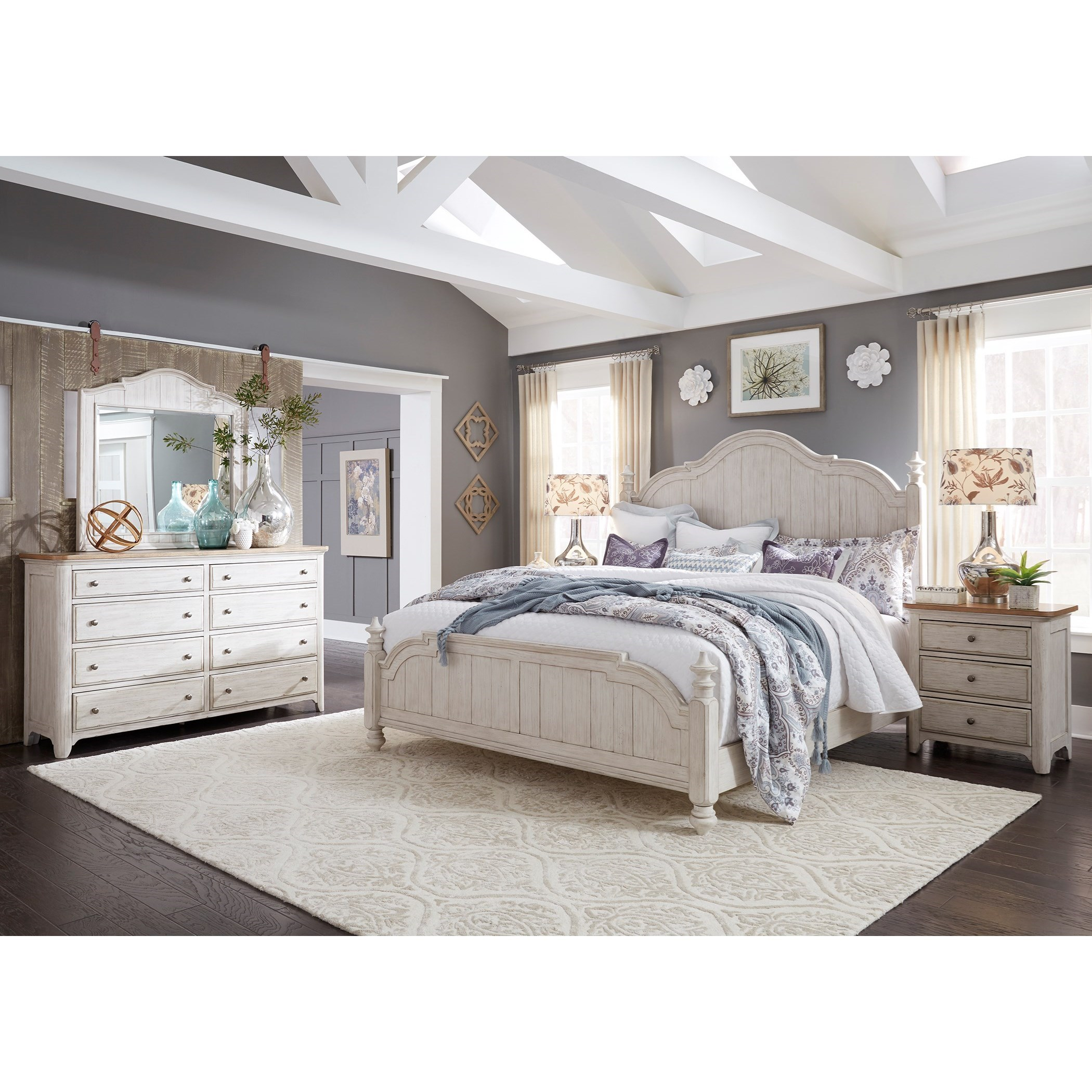 Liberty furniture farmhouse reimagined 652 br qpsdmn queen for Bedroom furniture groups