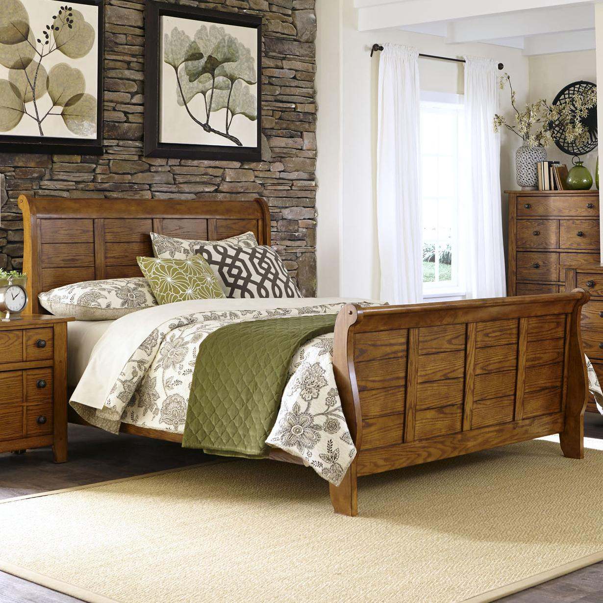 grandpa 39 s cabin queen sleigh bed with paneling by liberty. Black Bedroom Furniture Sets. Home Design Ideas